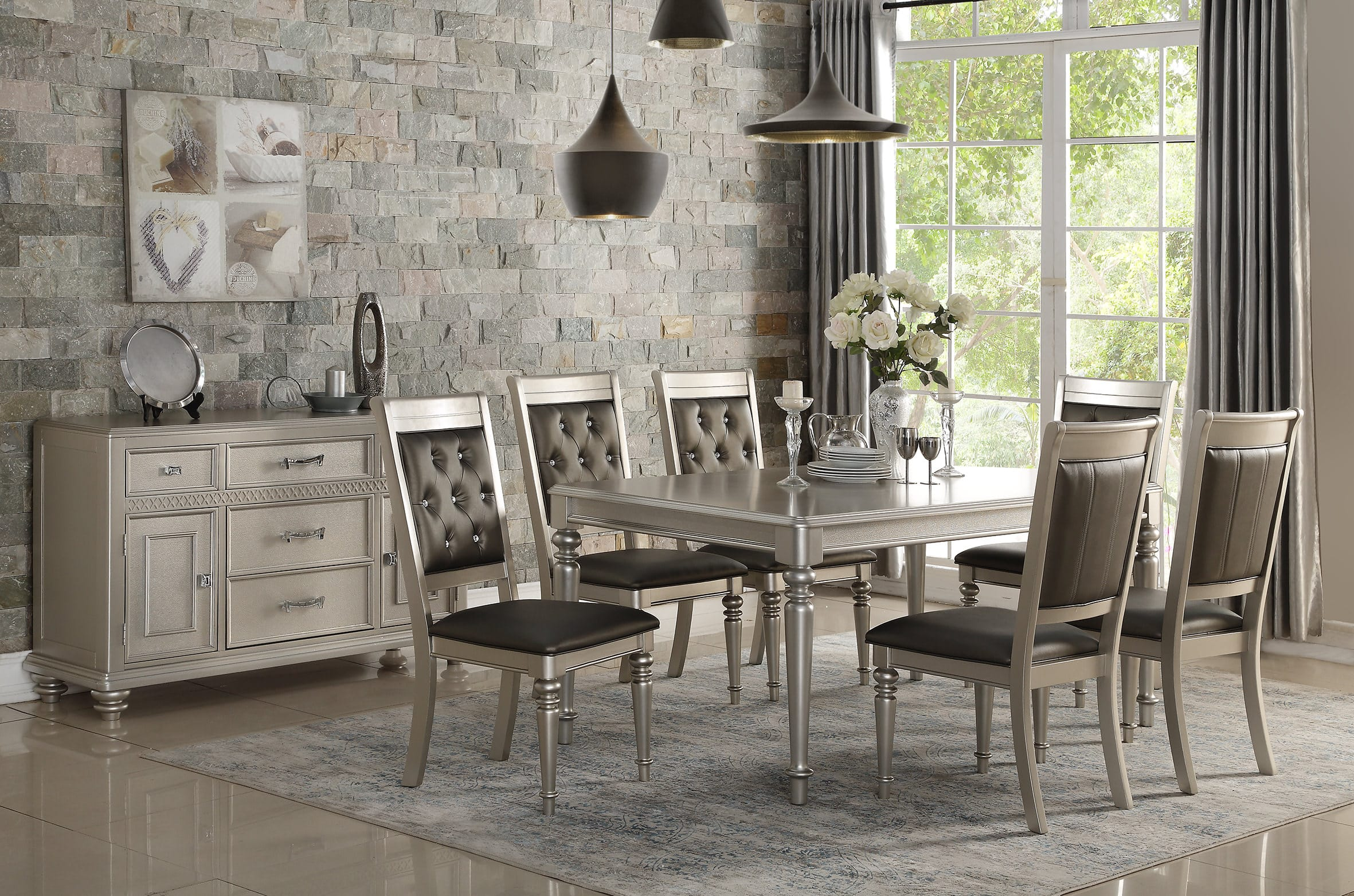 f2431 silver dining table by poundex - Silver Dining Table