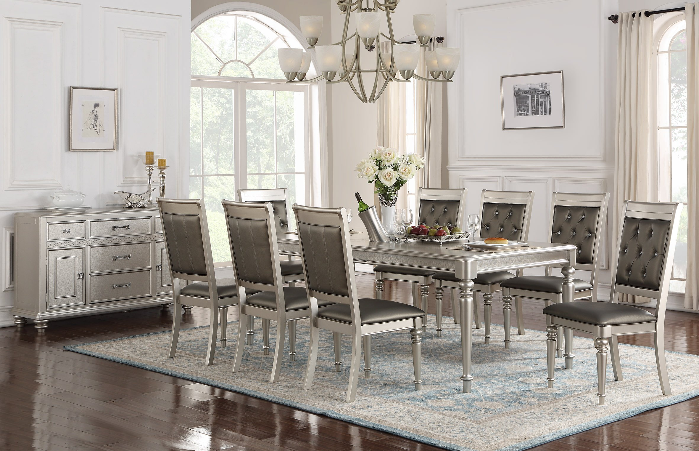 F2432 Silver Dining Table by Poundex