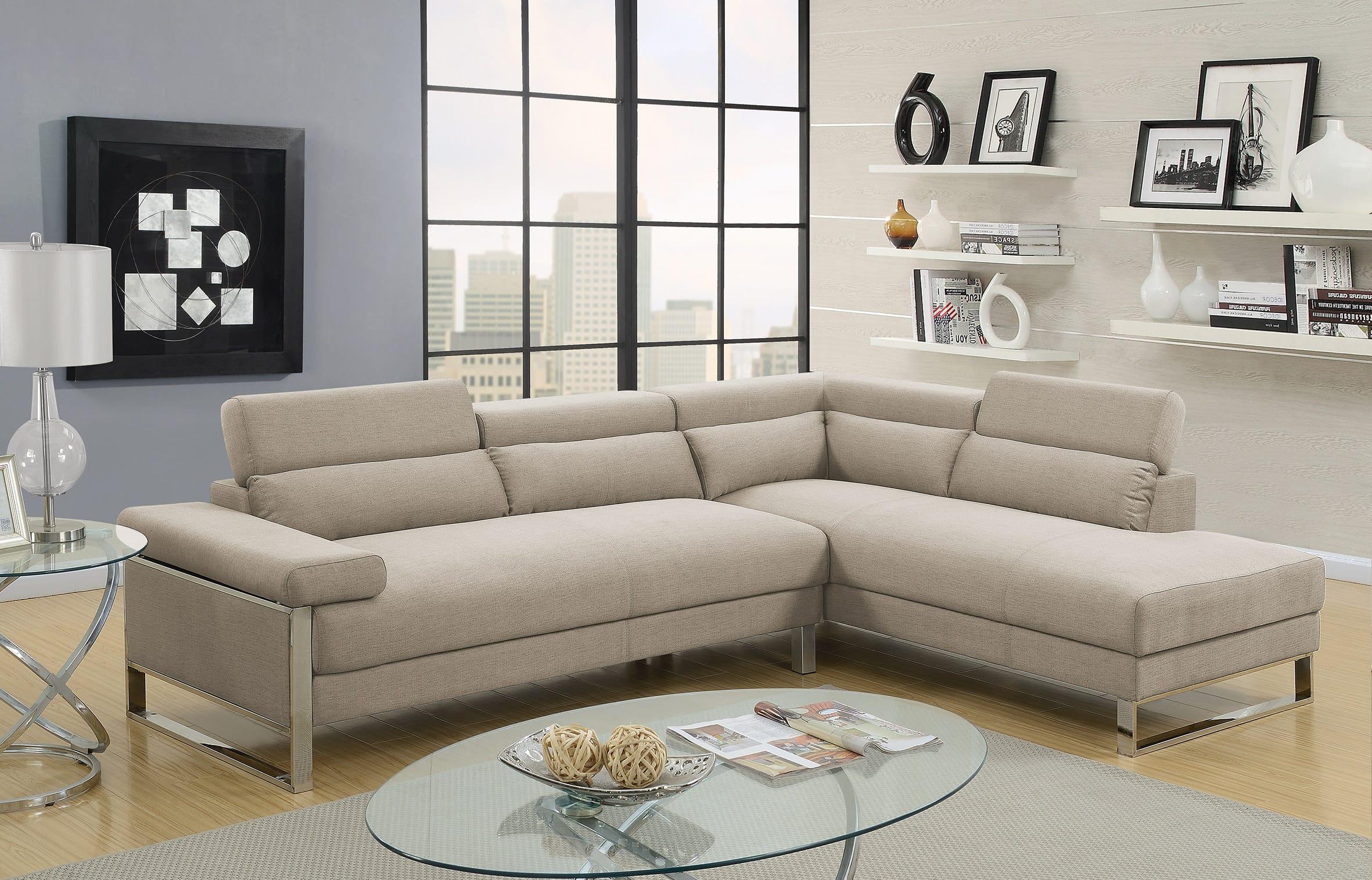 F6540 Beige 2 Pcs Sectional Sofa Set By Poundex