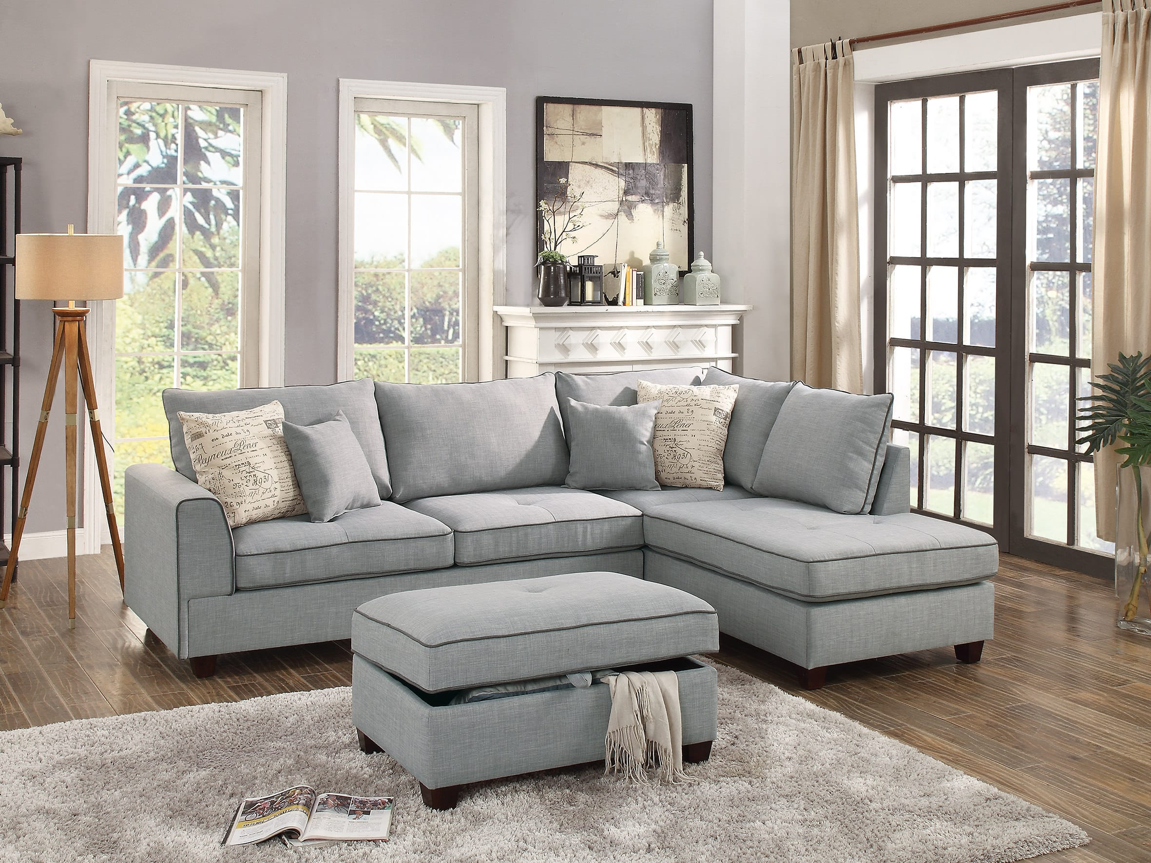 F6543 Light Gray 3 Pcs Sectional Sofa Set by Poundex