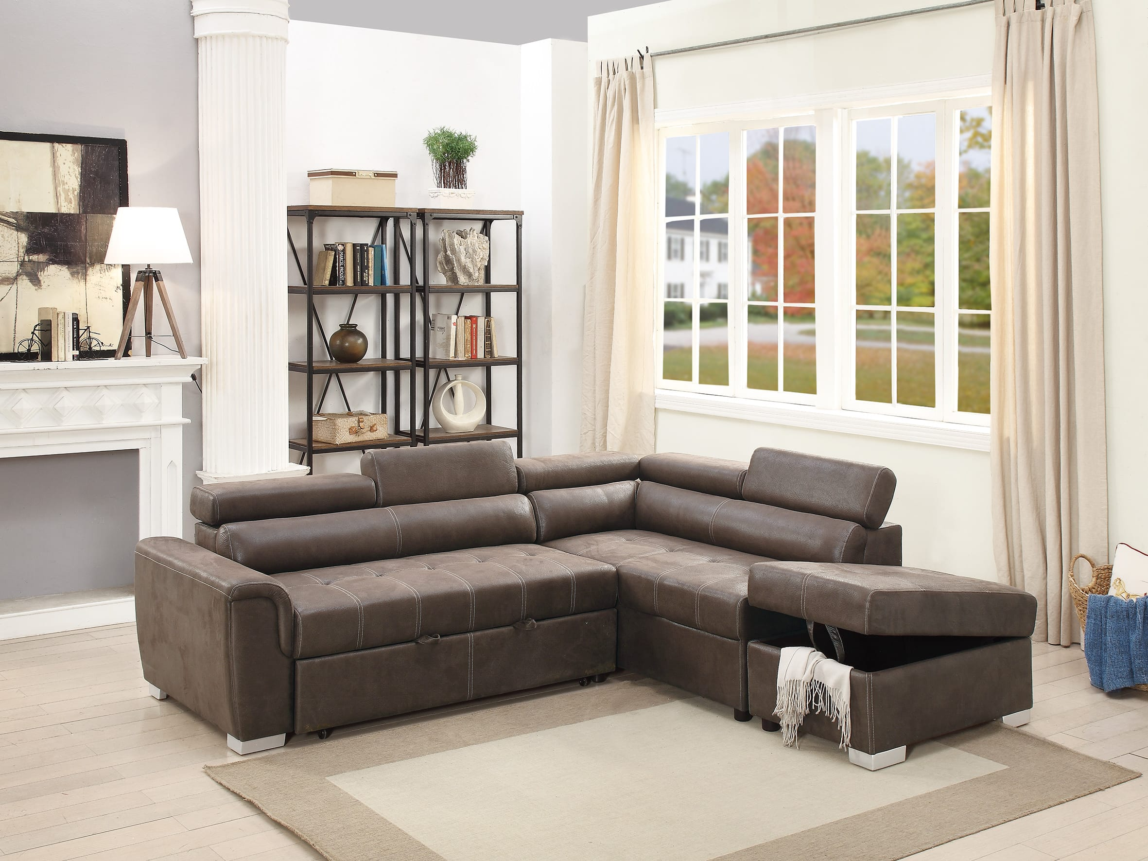 brown chaise storage sofa rich sectional with elegant convertible bed products