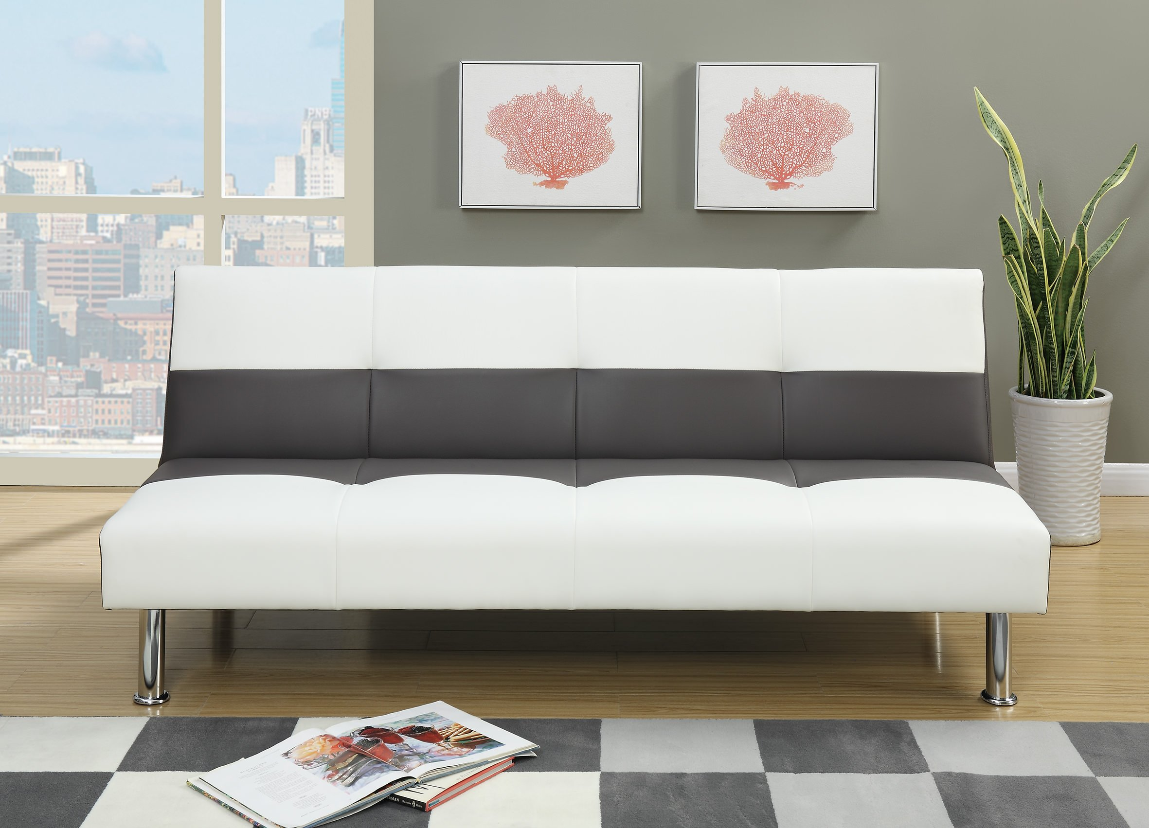F6820 Ash White Convertible Sofa Bed By Poundex