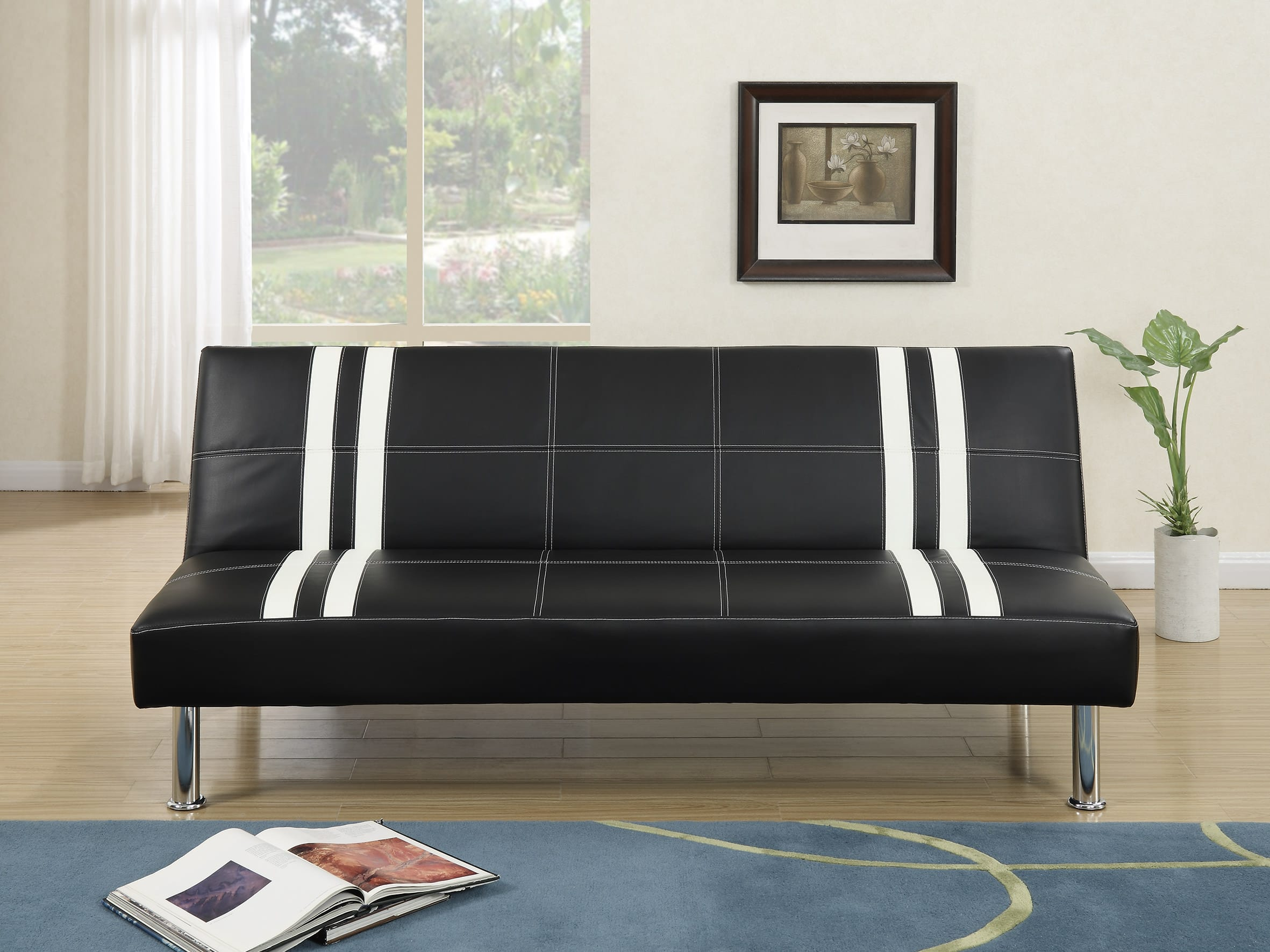 Wondrous F6821 Black White Convertible Sofa Bed By Poundex Pdpeps Interior Chair Design Pdpepsorg