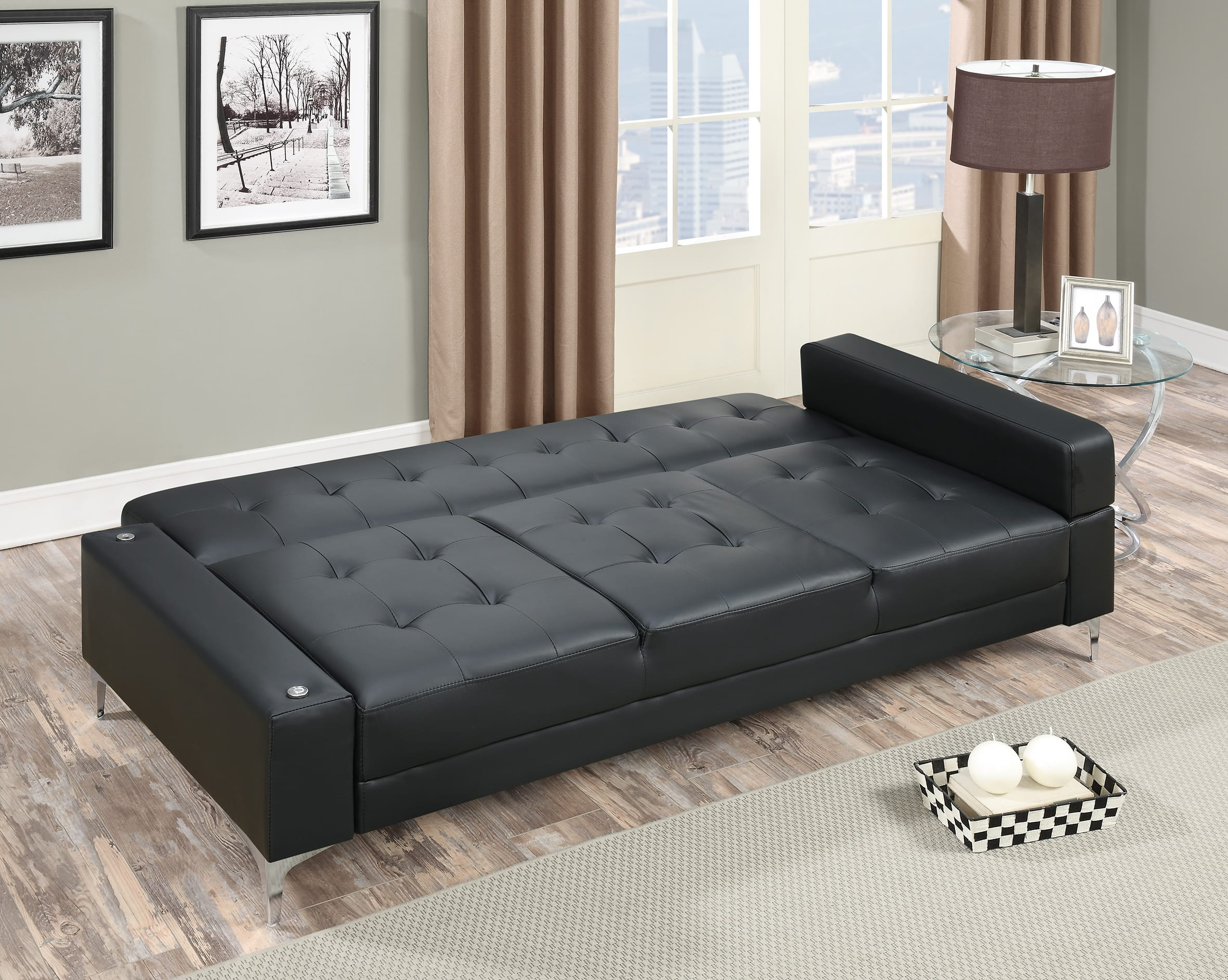 F6830 Black Convertible Sofa Bed by Poundex