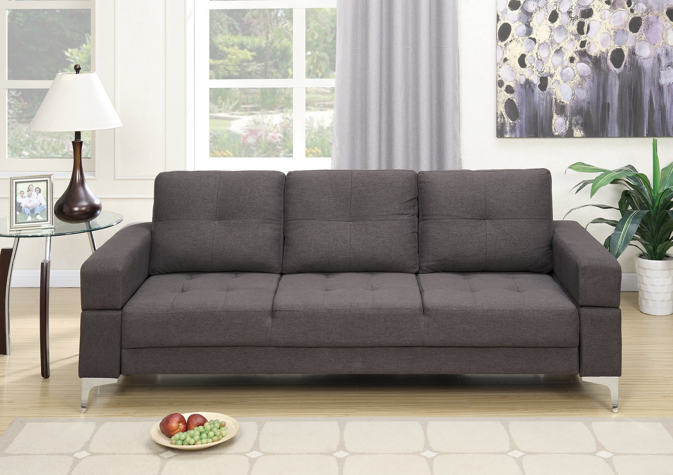 F6831 Ash Black Convertible Sofa Bed by Poundex