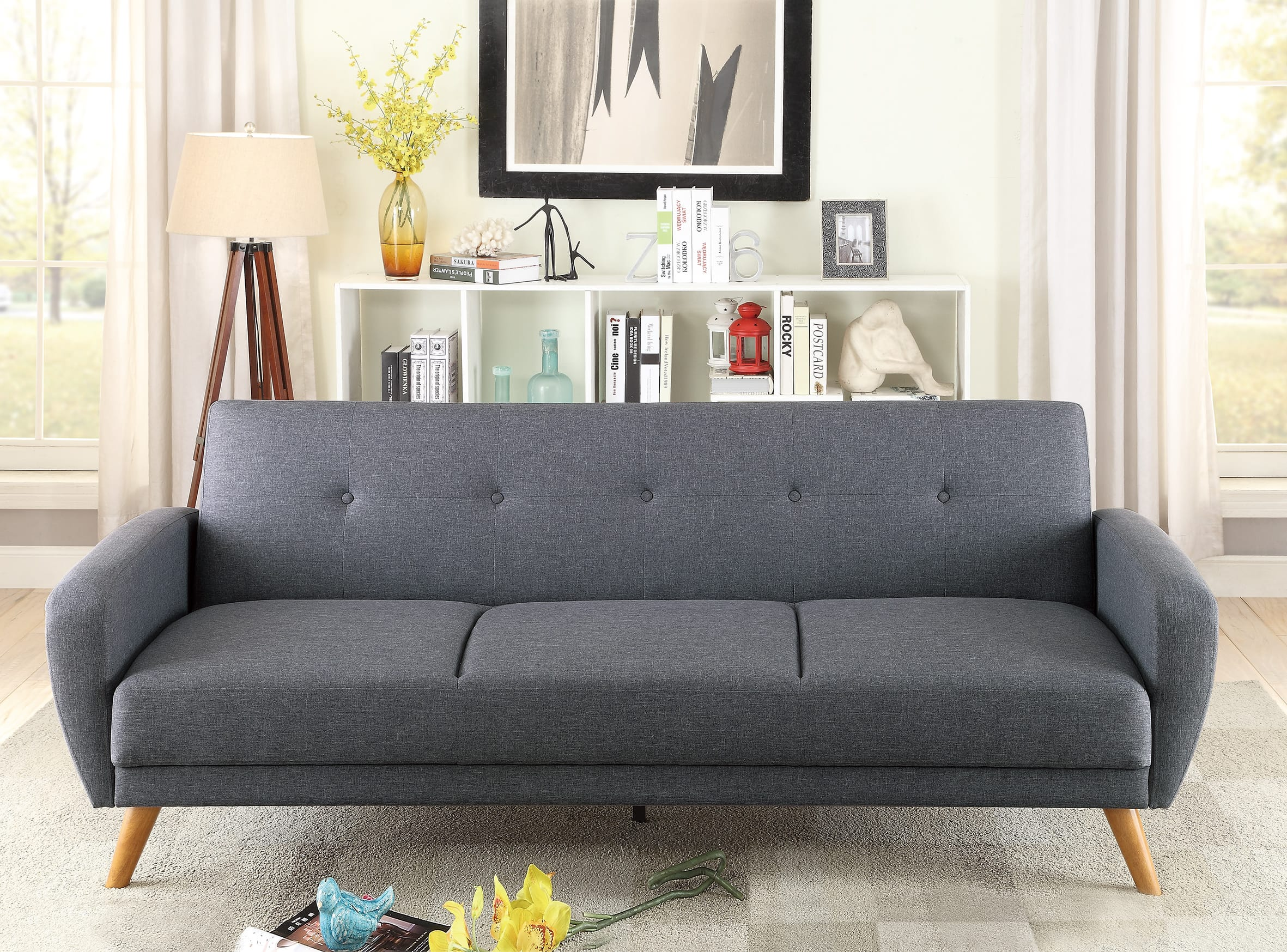 F6851 blue gray convertible sofa bed by poundex for Blue grey couch
