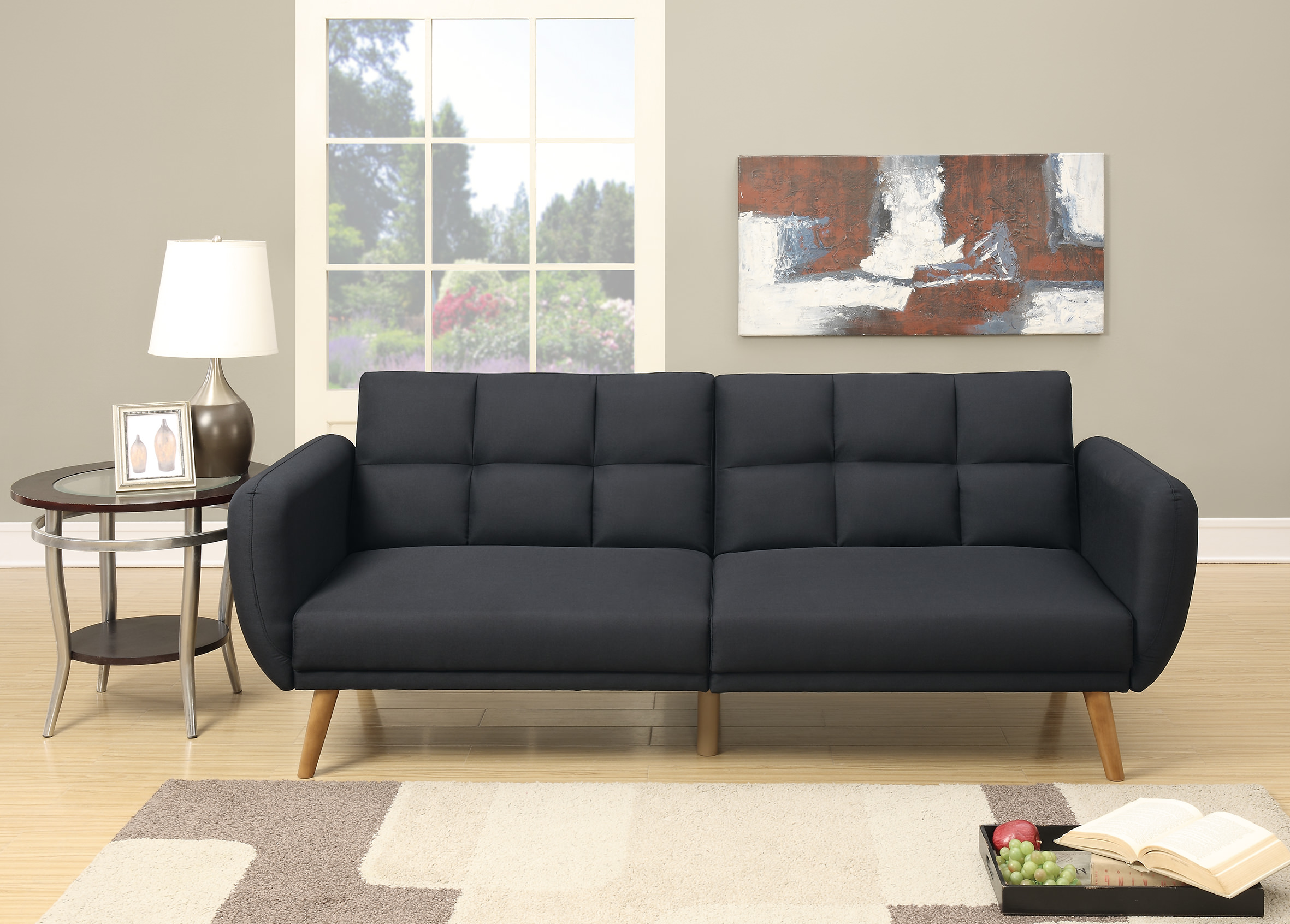 F6852 Black Convertible Sofa Bed By Poundex