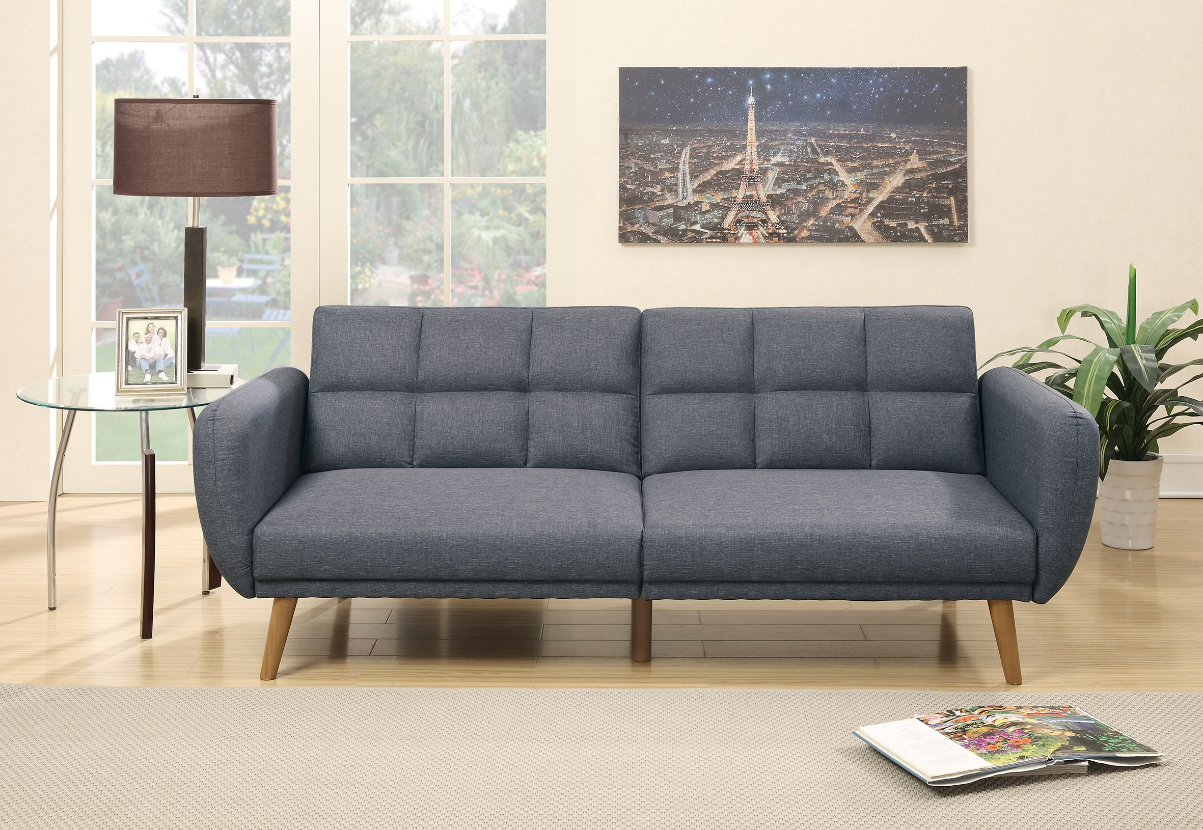 F6853 blue gray convertible sofa bed by poundex for Blue grey couch