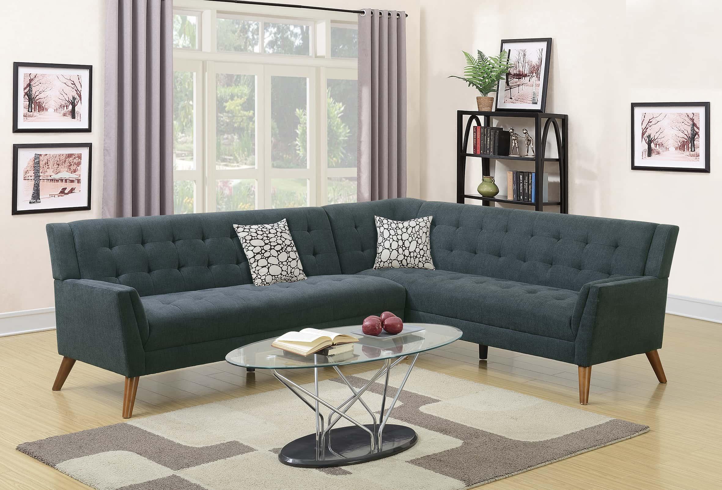F6884 Slate 2 Pcs Sectional Sofa Set By Poundex