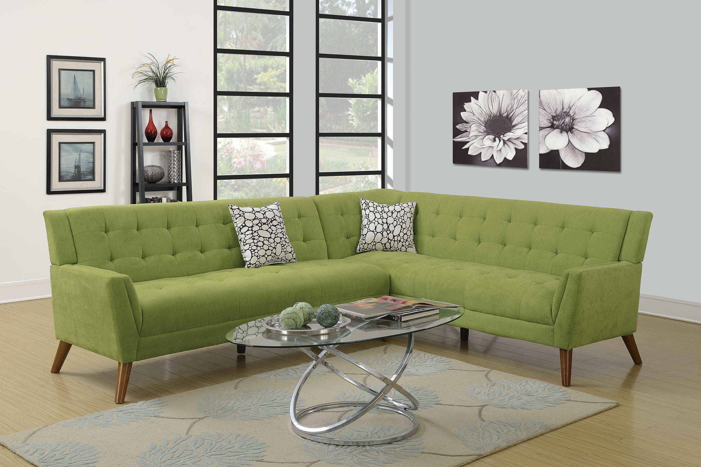 F6886 Willow 2 Pcs Sectional Sofa Set By Poundex