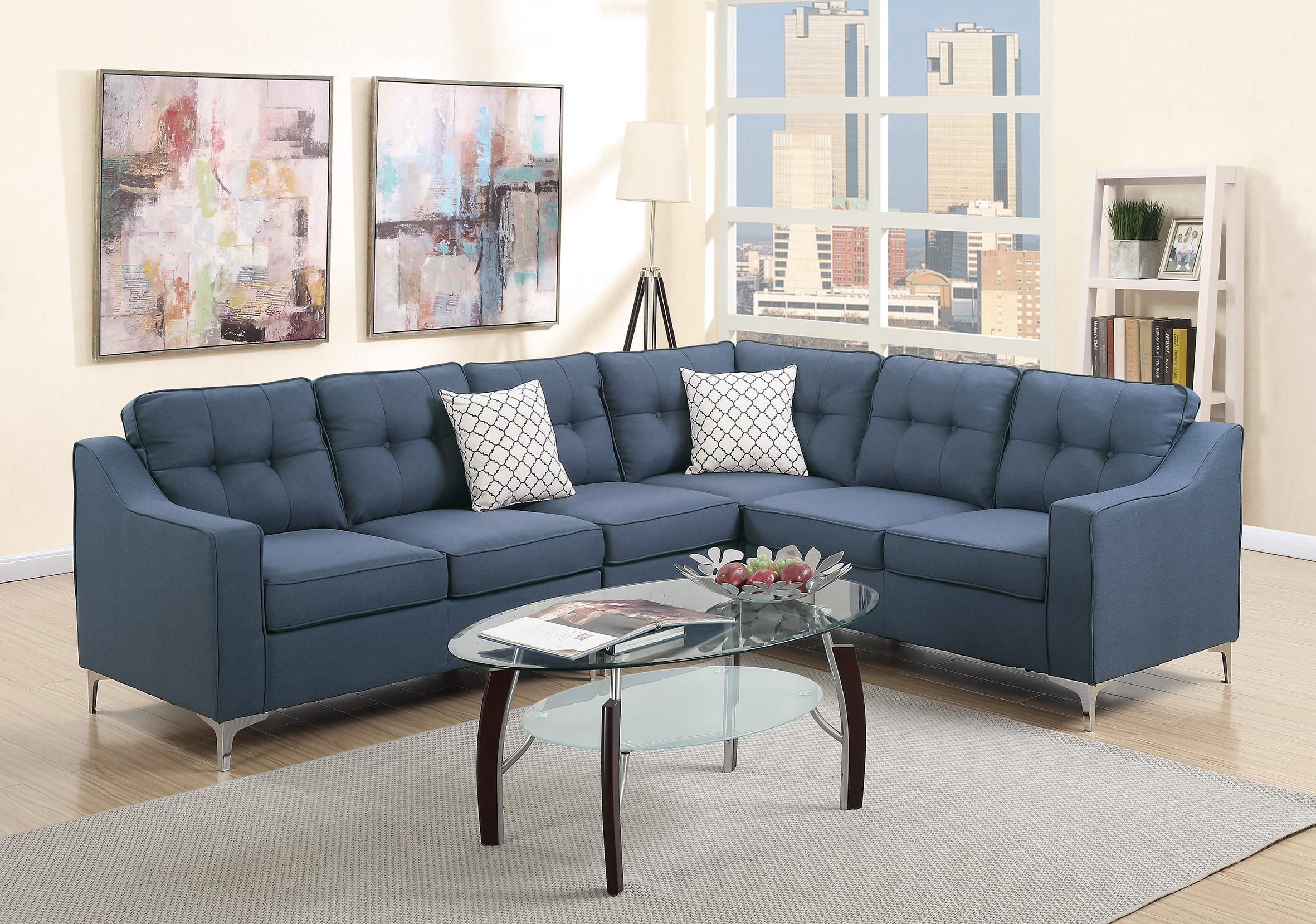 F6889 Navy 4 Pcs Sectional Sofa Set by Poundex