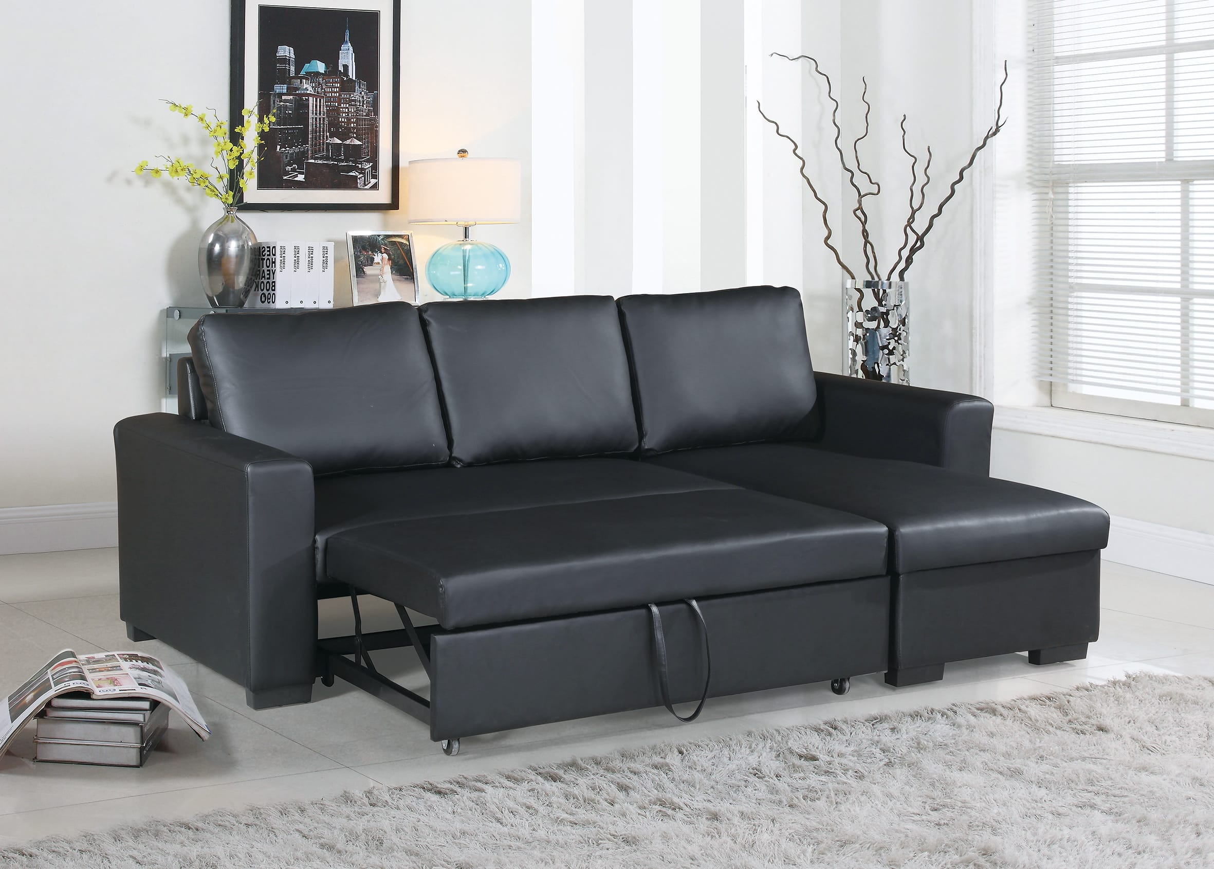 Picture of: F6890 Black Convertible Sectional Sofa By Poundex
