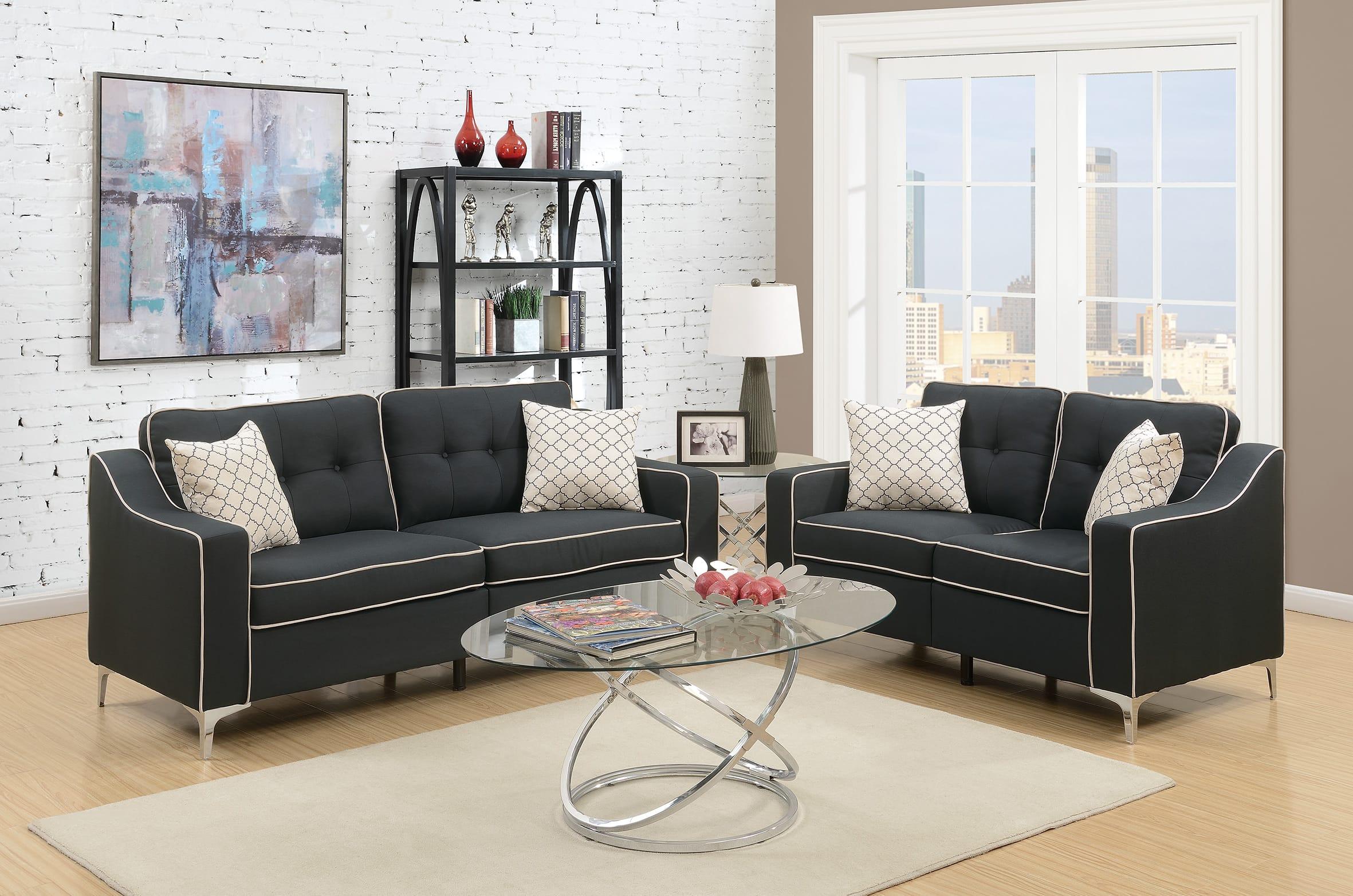 F6891 Black 2 Pcs Sofa Set by Poundex