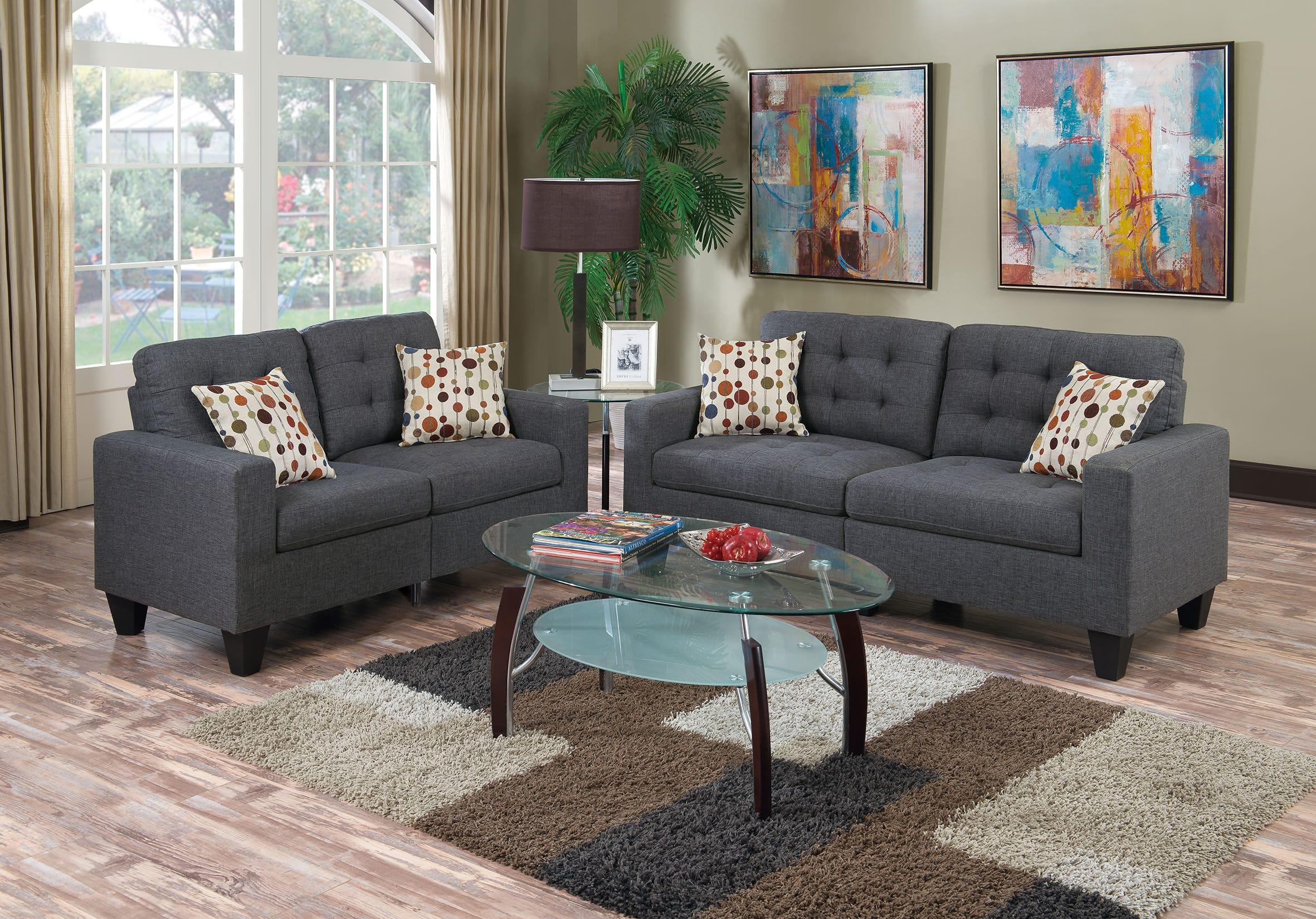 F6901 Blue Gray 2 Pcs Sofa Set by Poundex