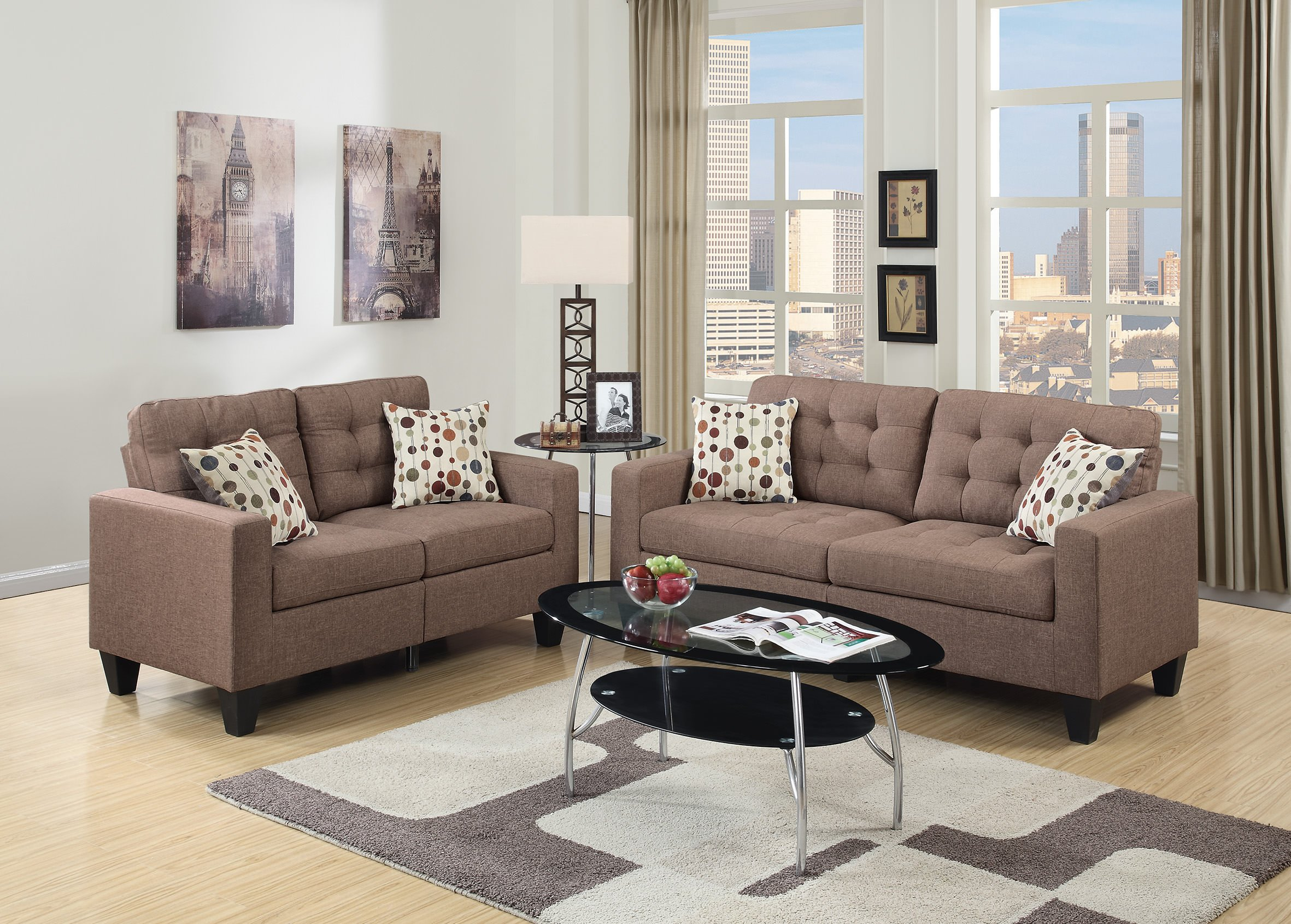 F6904 Light Coffee 2 Pcs Sofa Set by Poundex