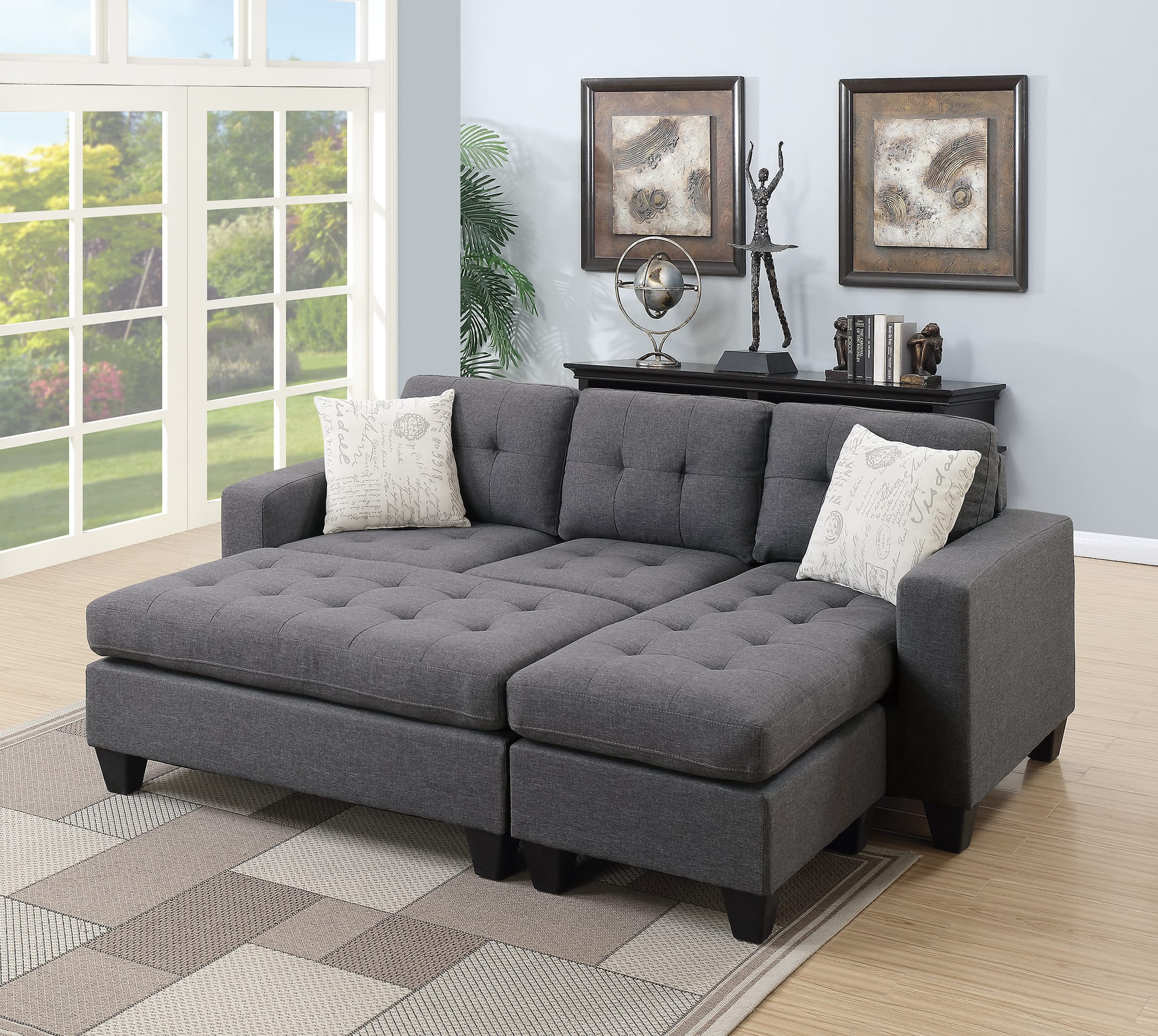 Sectional Gray Sofa Set: F6920 Blue Gray Sectional Sofa Set By Poundex