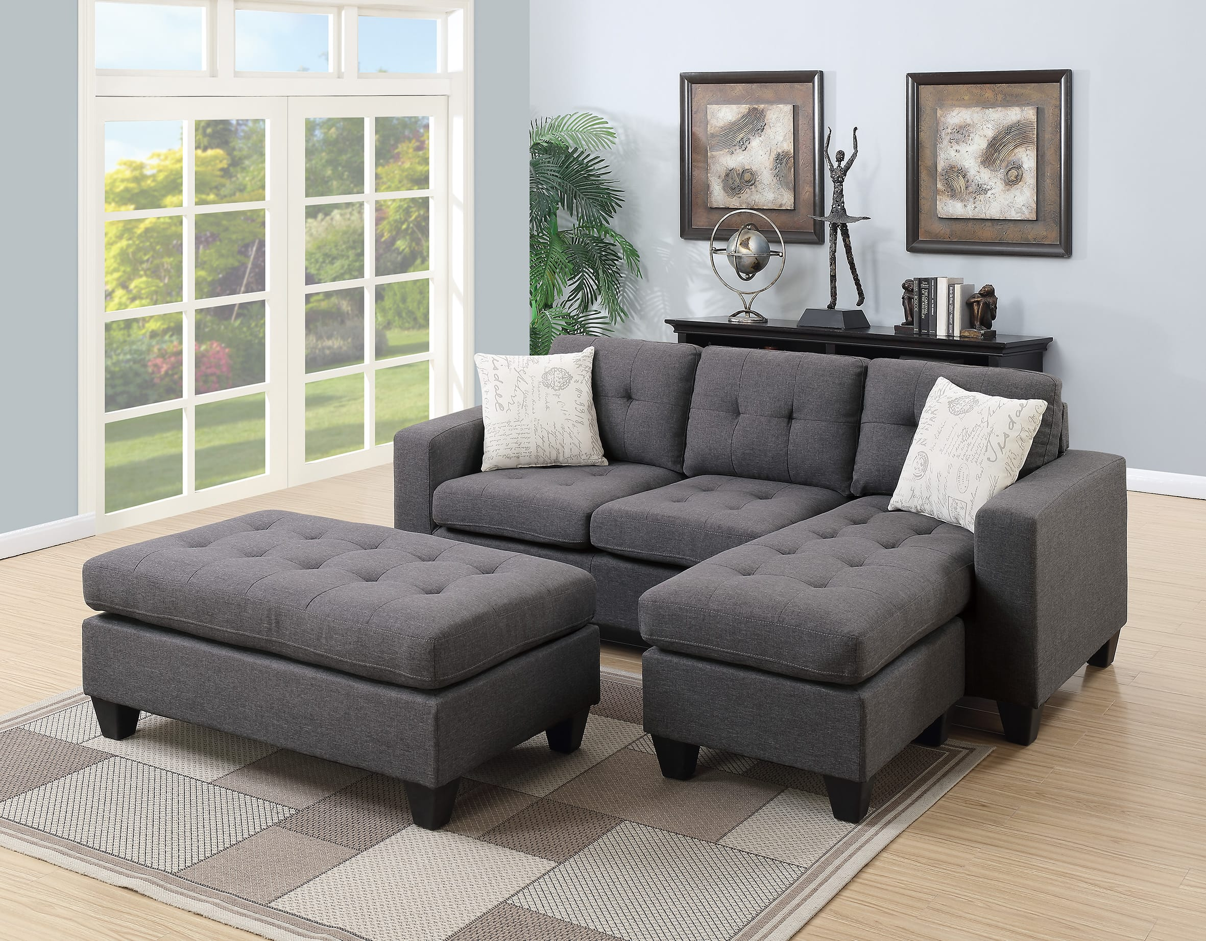 F6920 Blue Gray Sectional Sofa Set by Poundex