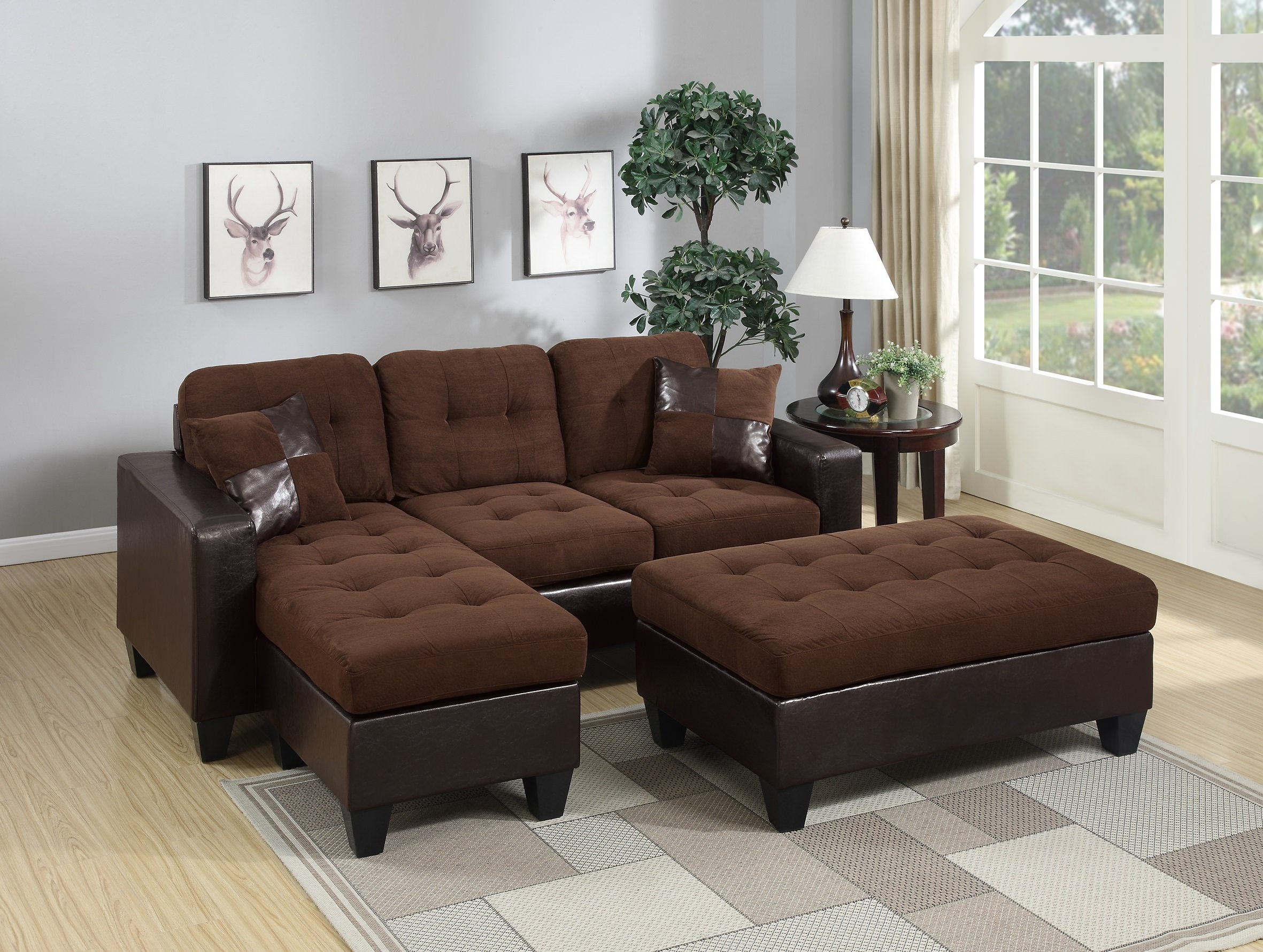 F6928 chocolate sectional sofa set by poundex for Affordable furniture 3 piece sectional in wyoming saddle