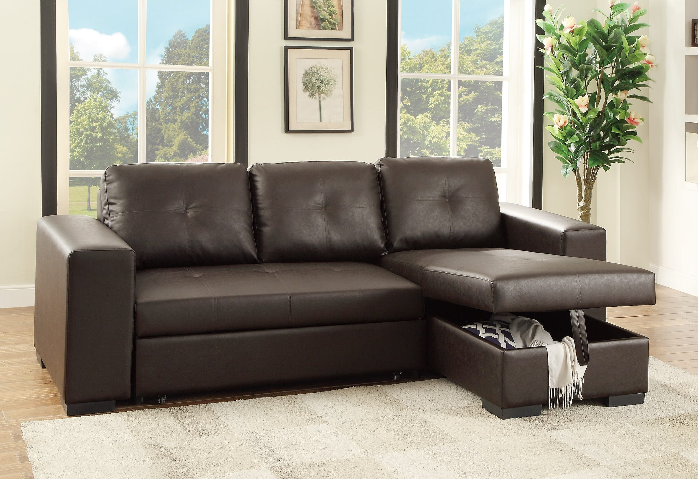F6930 Espresso Convertible Sectional Sofa by Poundex