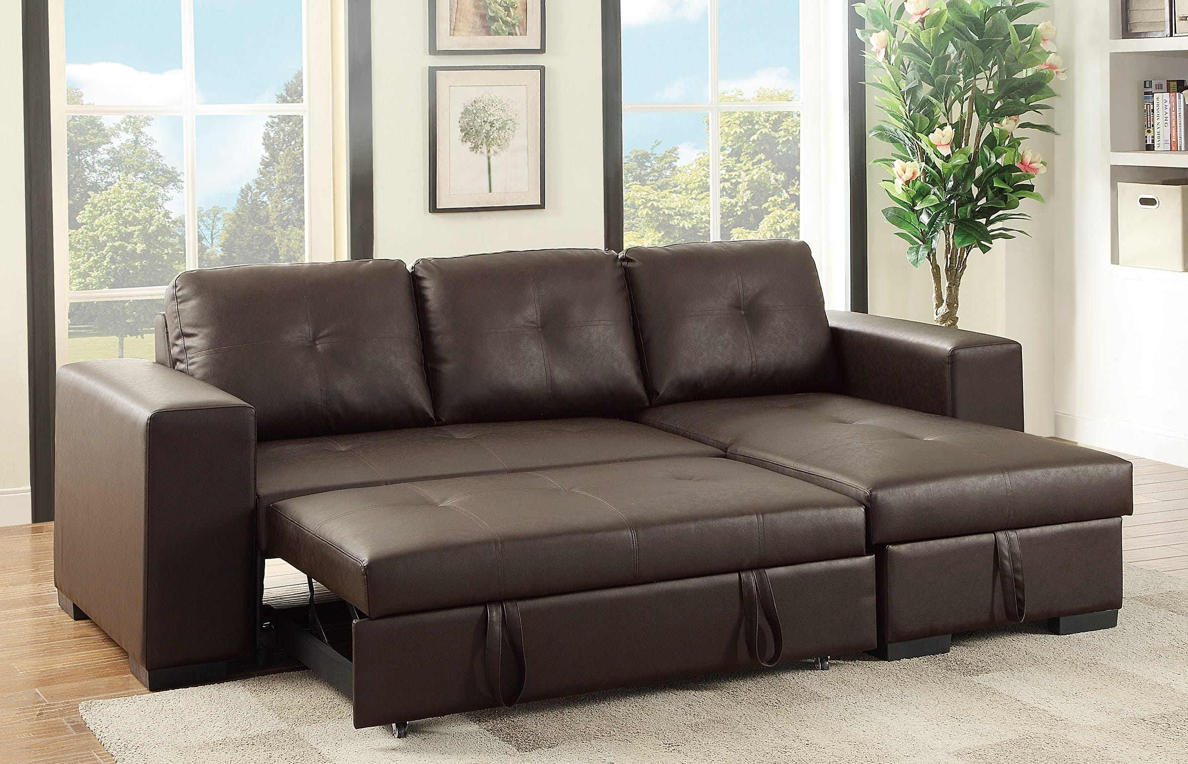 F6930 espresso convertible sectional sofa by poundex for Chaise lounge convertible bed
