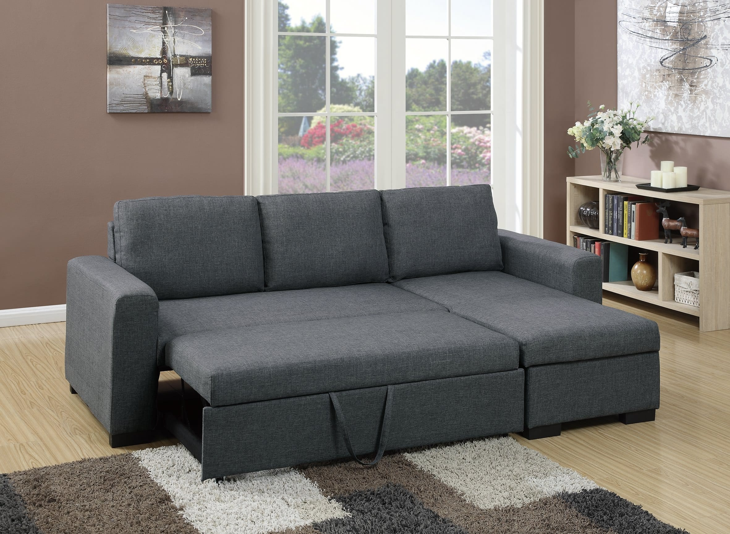 F6931 blue gray convertible sectional sofa by poundex for Blue grey couch