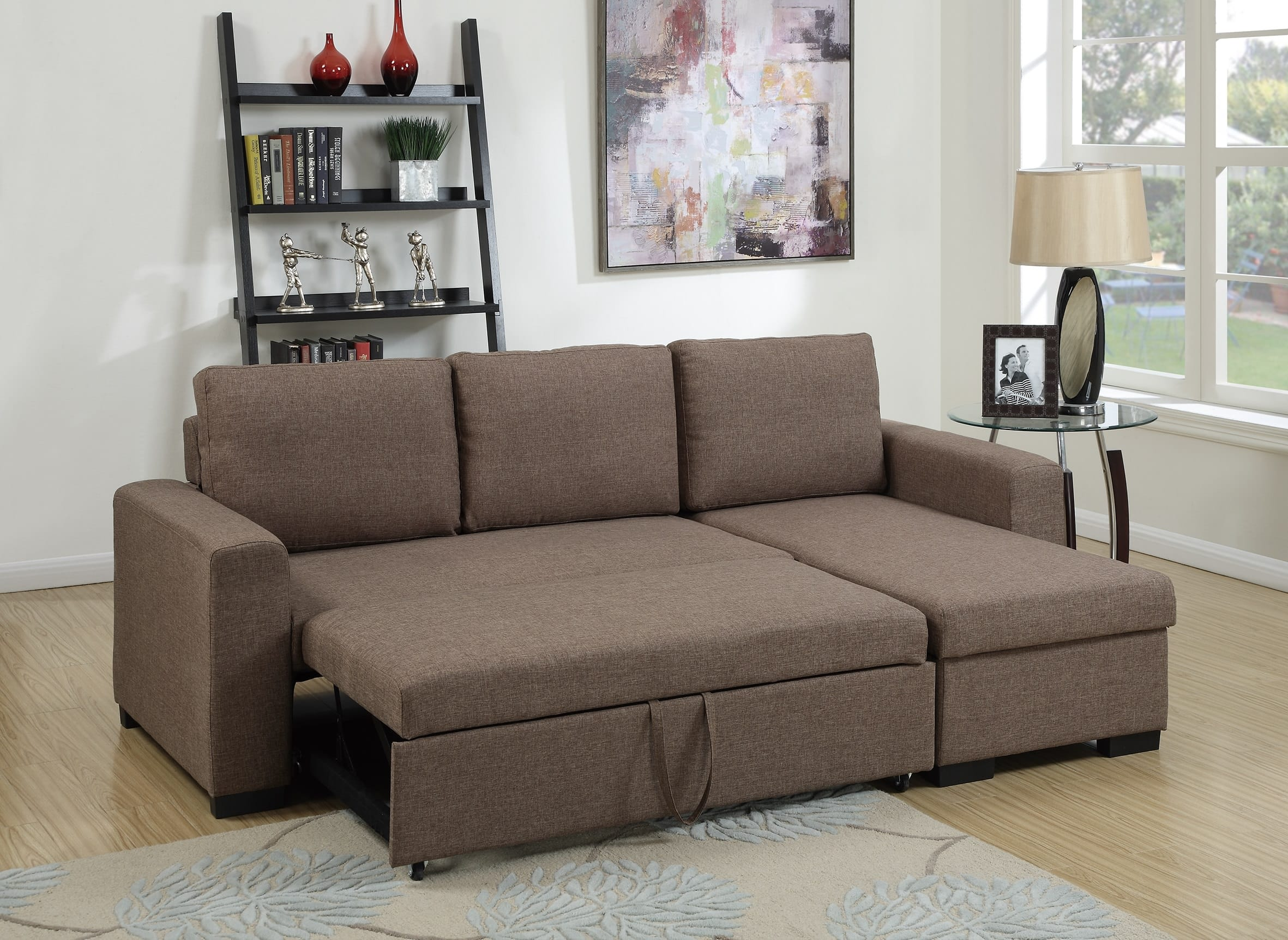 F6932 Light Coffee Convertible Sectional Sofa by Poundex