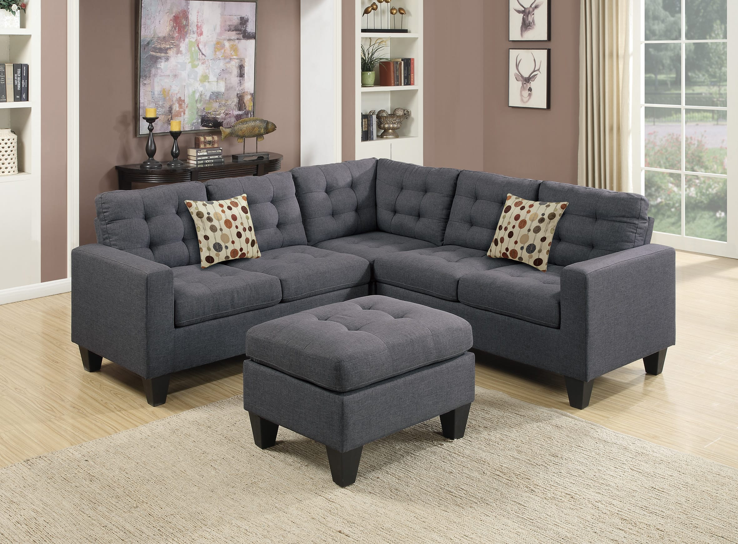 F6935 Blue Gray 4 Pcs Sectional Sofa Set by Poundex