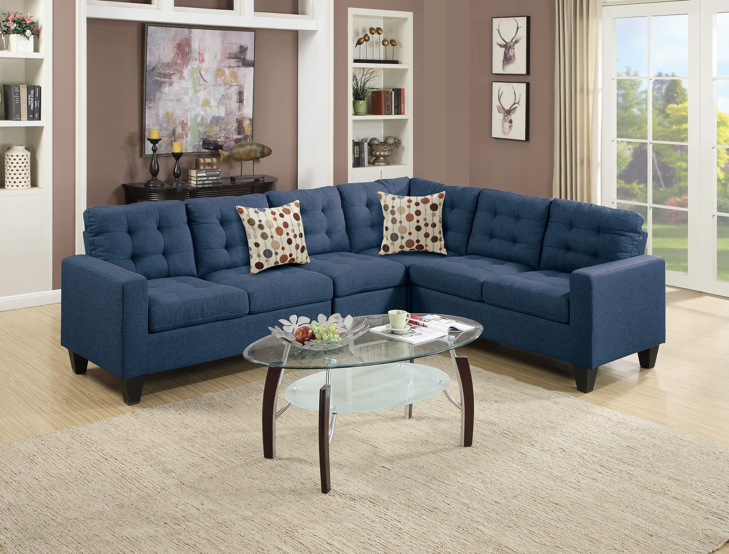Cool F6938 Navy Blue Sectional Sofa By Poundex Inzonedesignstudio Interior Chair Design Inzonedesignstudiocom