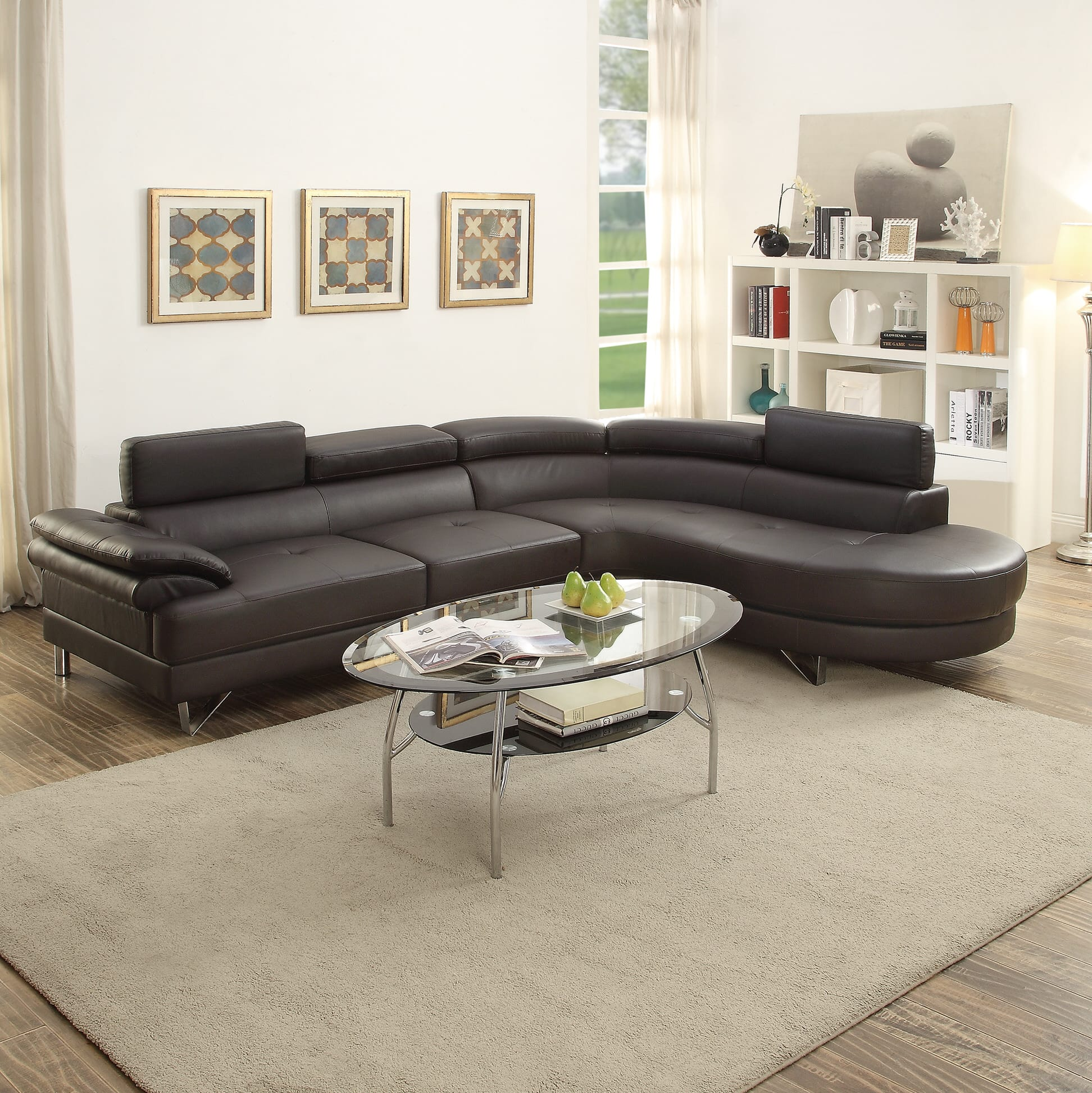 f6969 espresso 2 pcs sectional sofa set by poundex