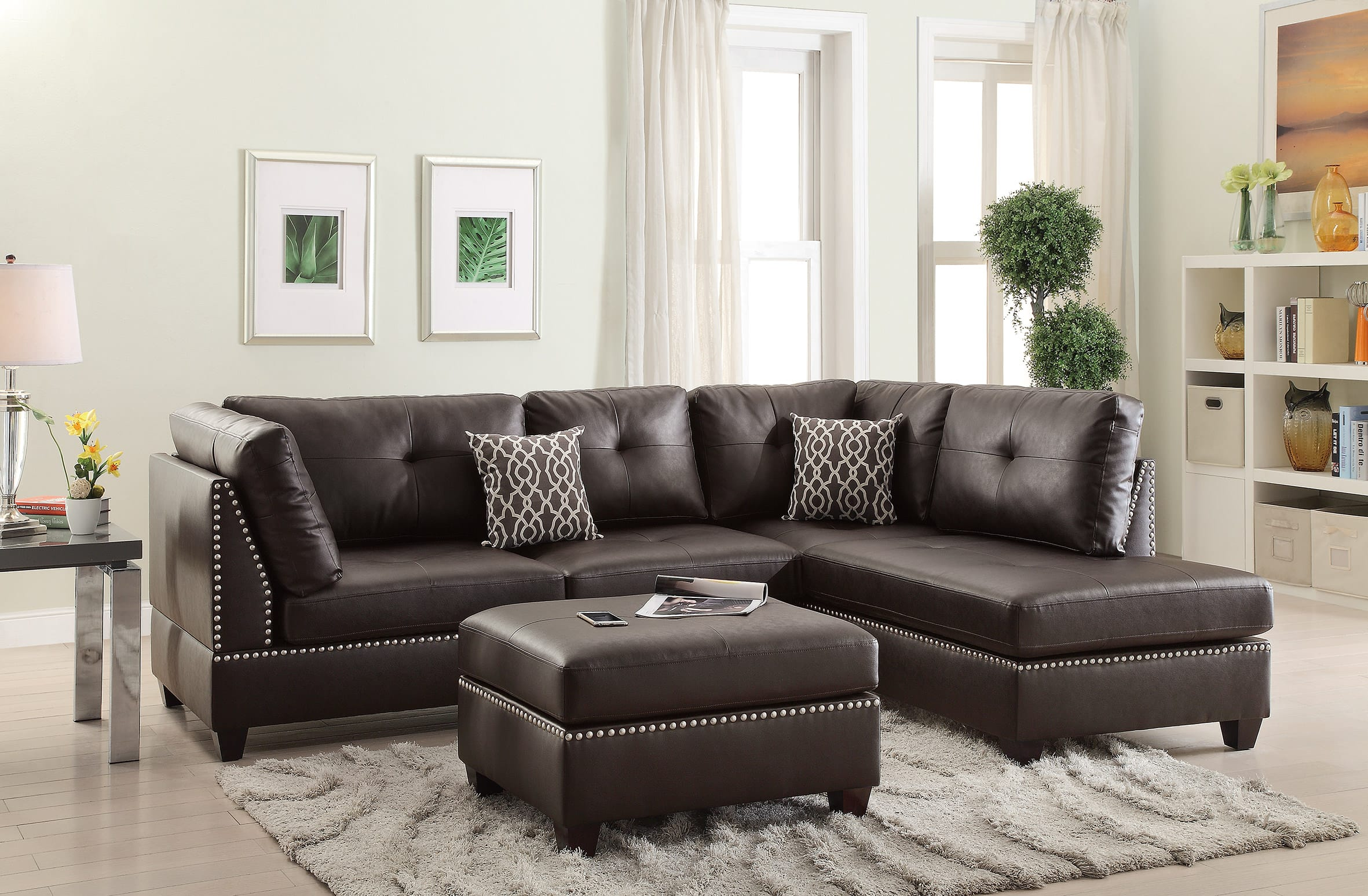 Excellent F6973 Espresso 3 Pcs Sectional Sofa Set By Poundex Theyellowbook Wood Chair Design Ideas Theyellowbookinfo