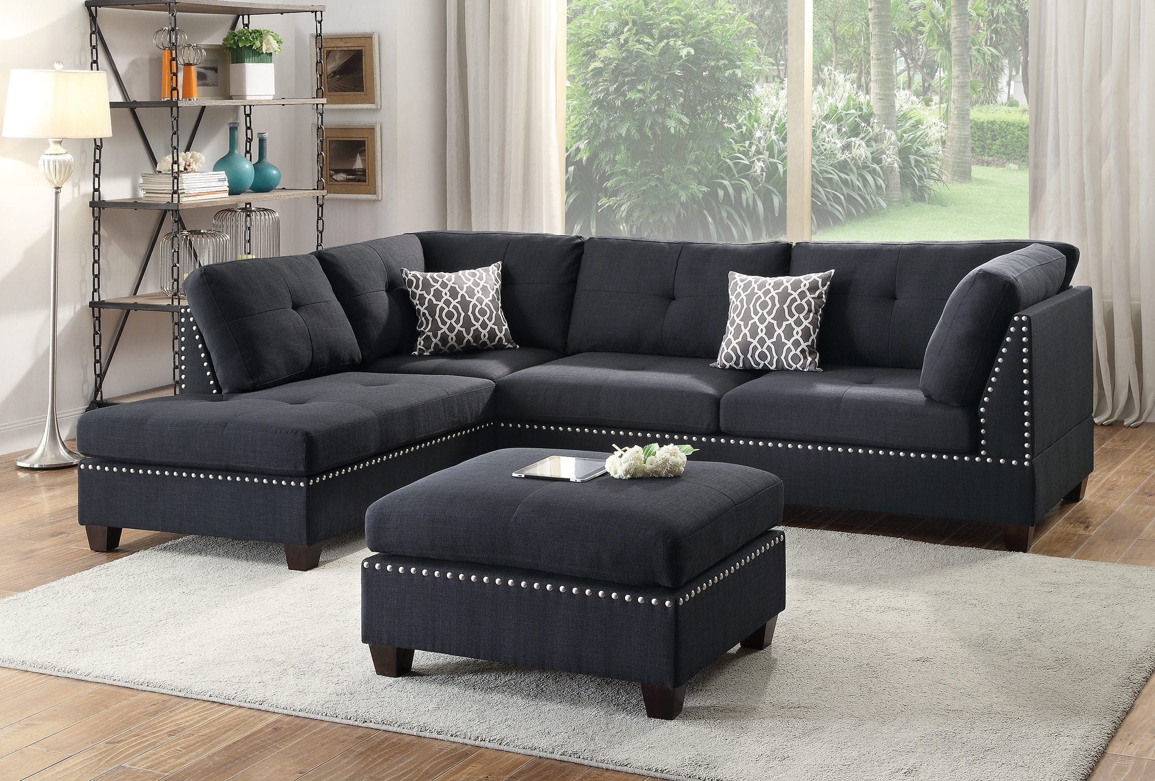 F6974 Black 3 Pcs Sectional Sofa Set By