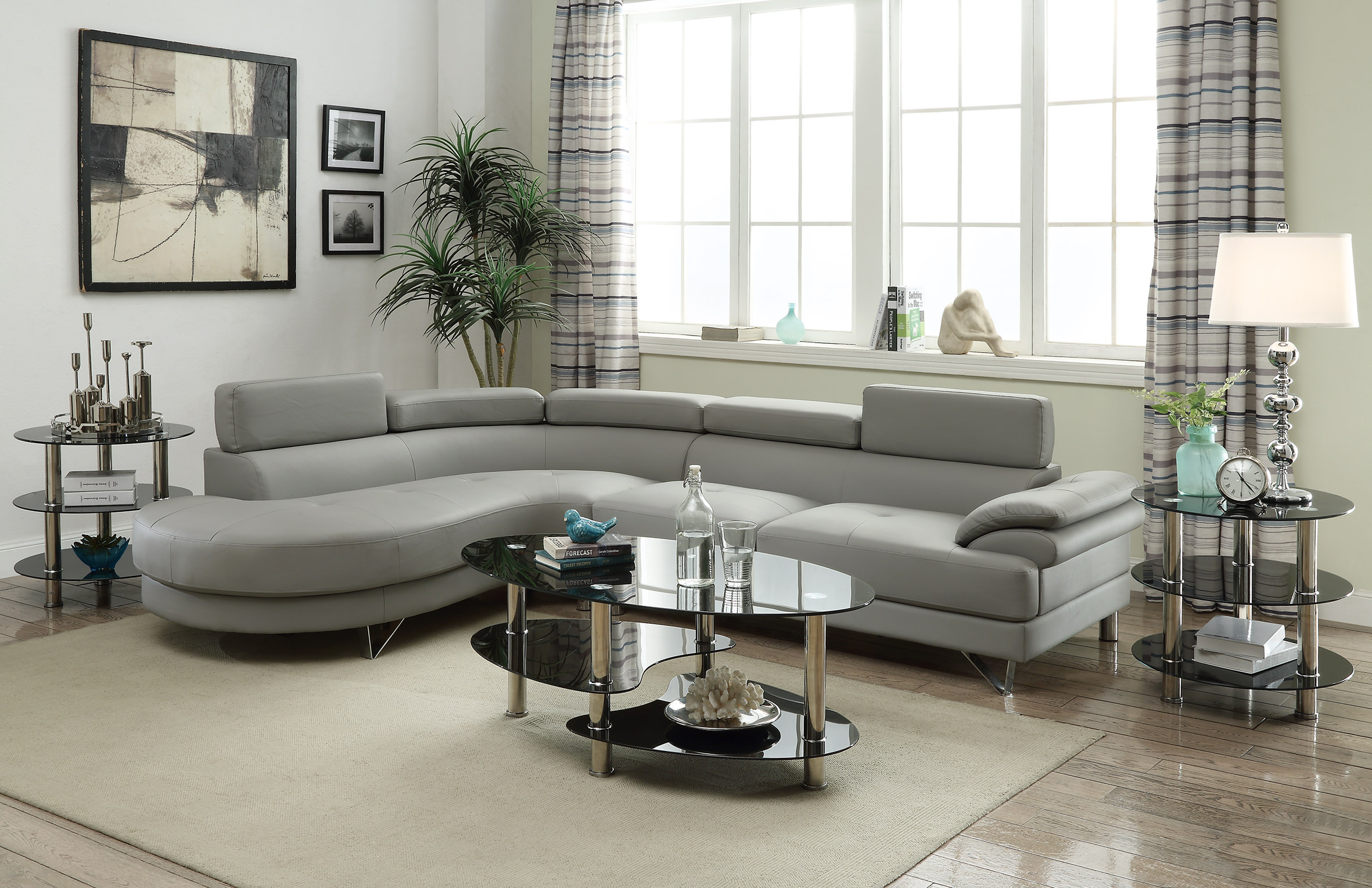 F6984 Gray Sectional Sofa by Poundex