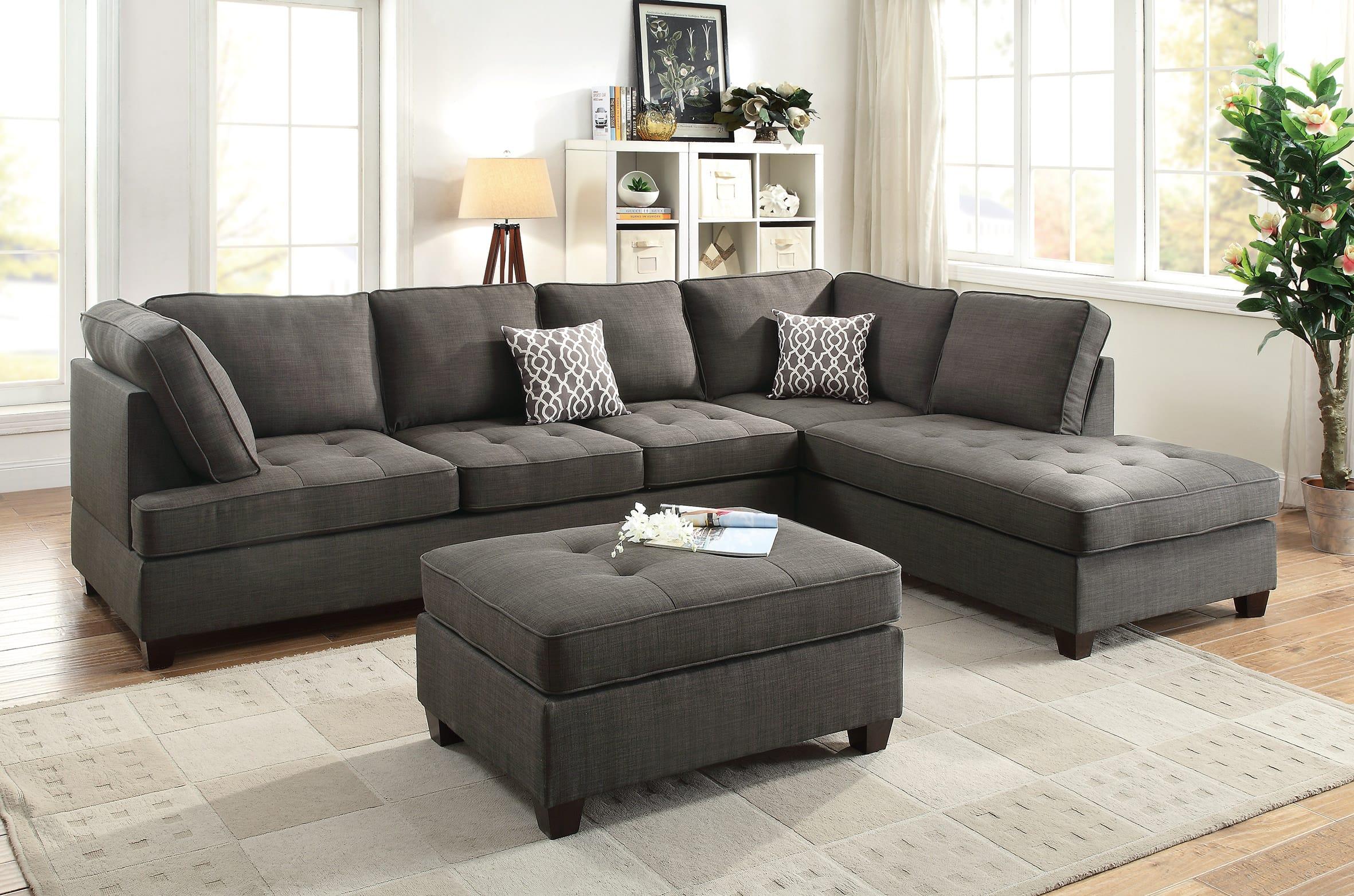 F6988 Ash Black 2 Pcs Sectional Sofa Set by Poundex