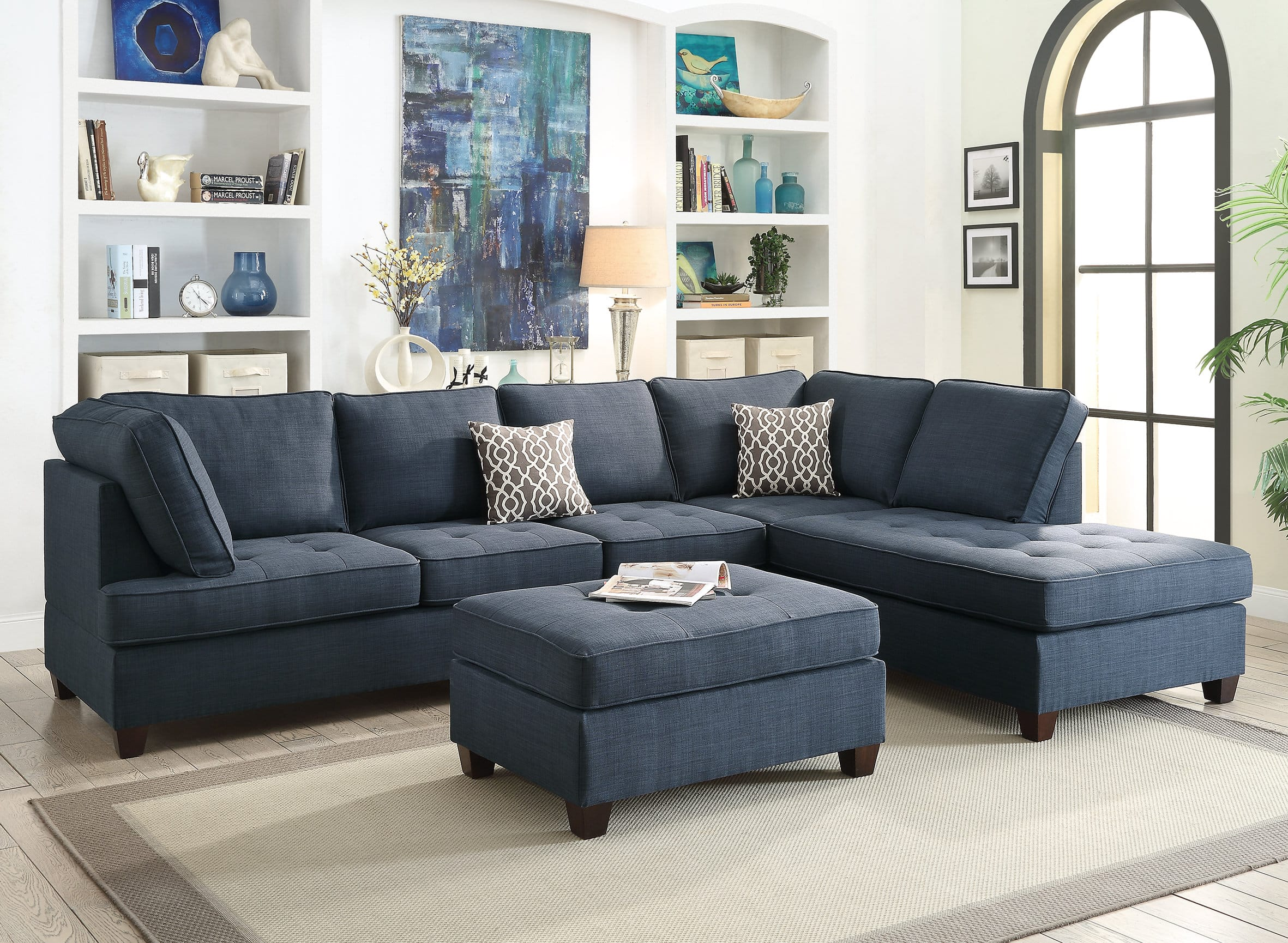 F Dark Blue 2 Pcs Sectional Sofa Set by Poundex