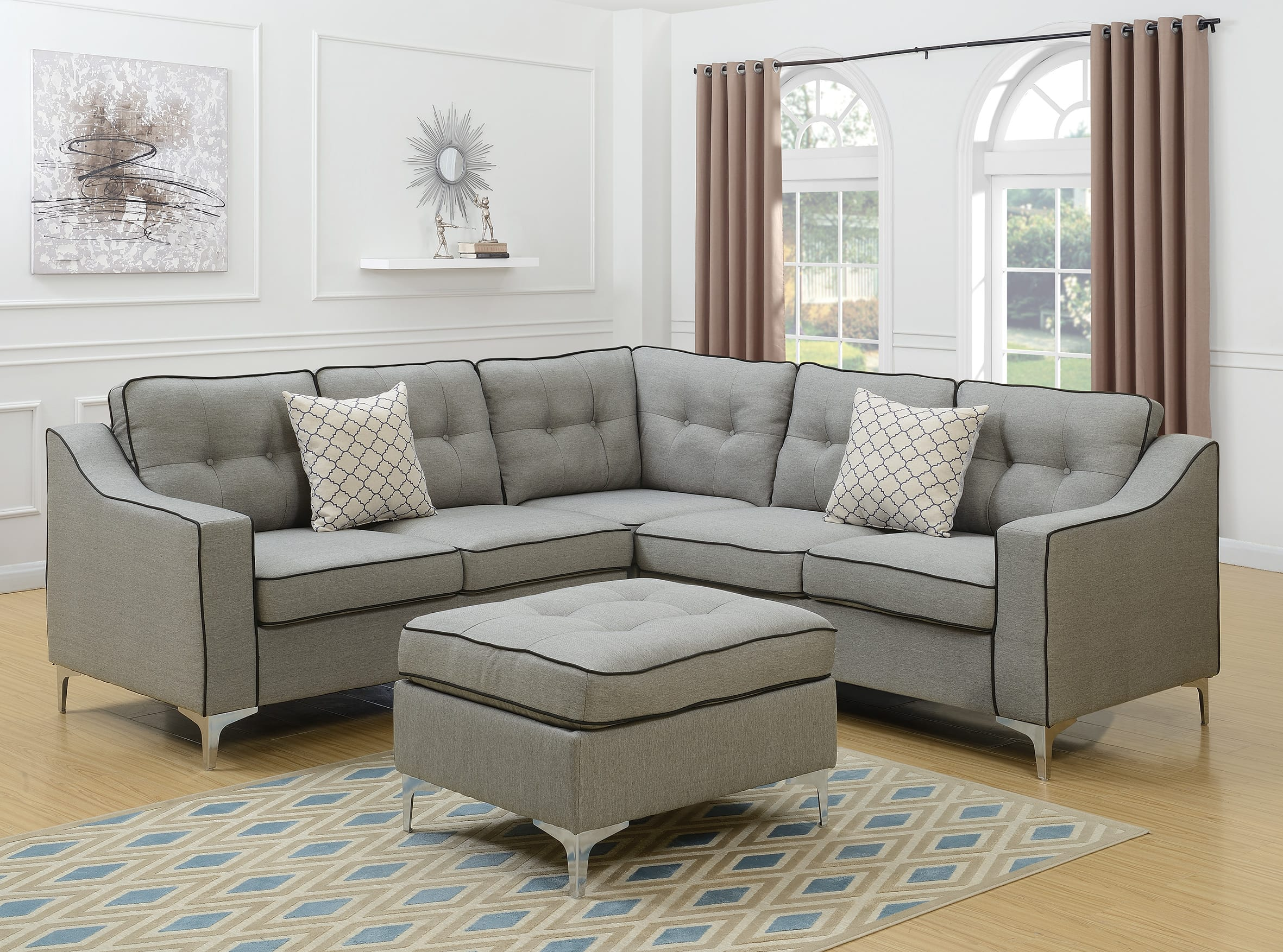 F6998 light gray 4 pcs sectional sofa set by poundex for 4 pcs sectional sofa