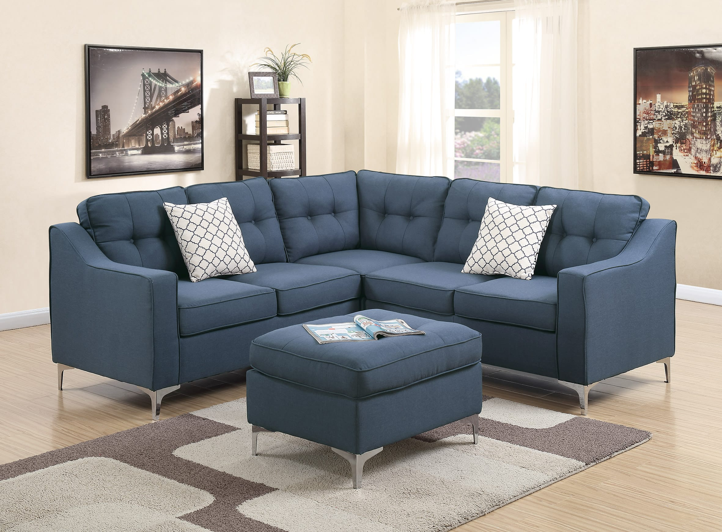 F6999 Navy 4 Pcs Sectional Sofa Set by Poundex