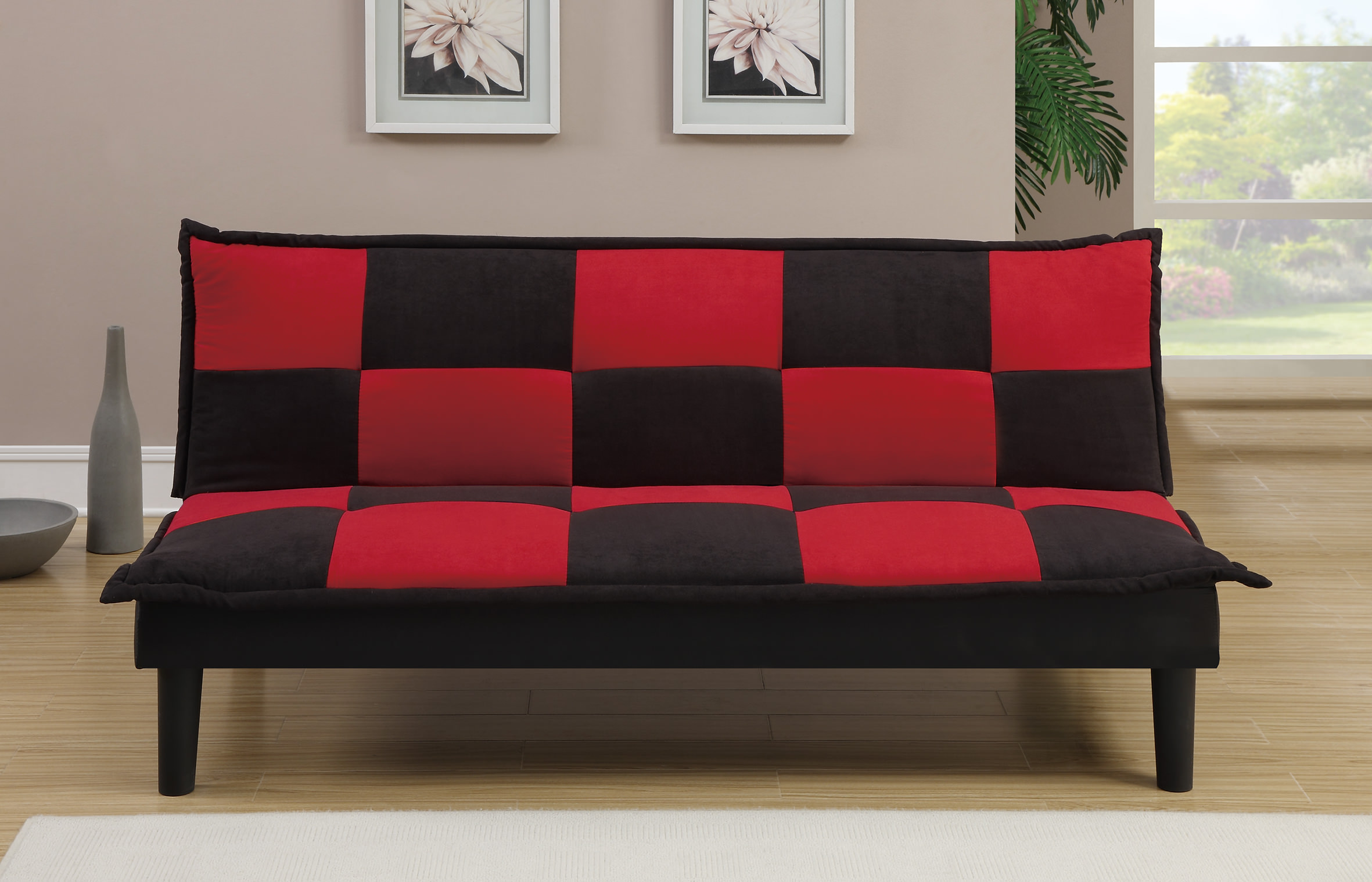 convertible bed sleeper leather s modern couch room lounge loveseat dorm futon red sofa p ebay living