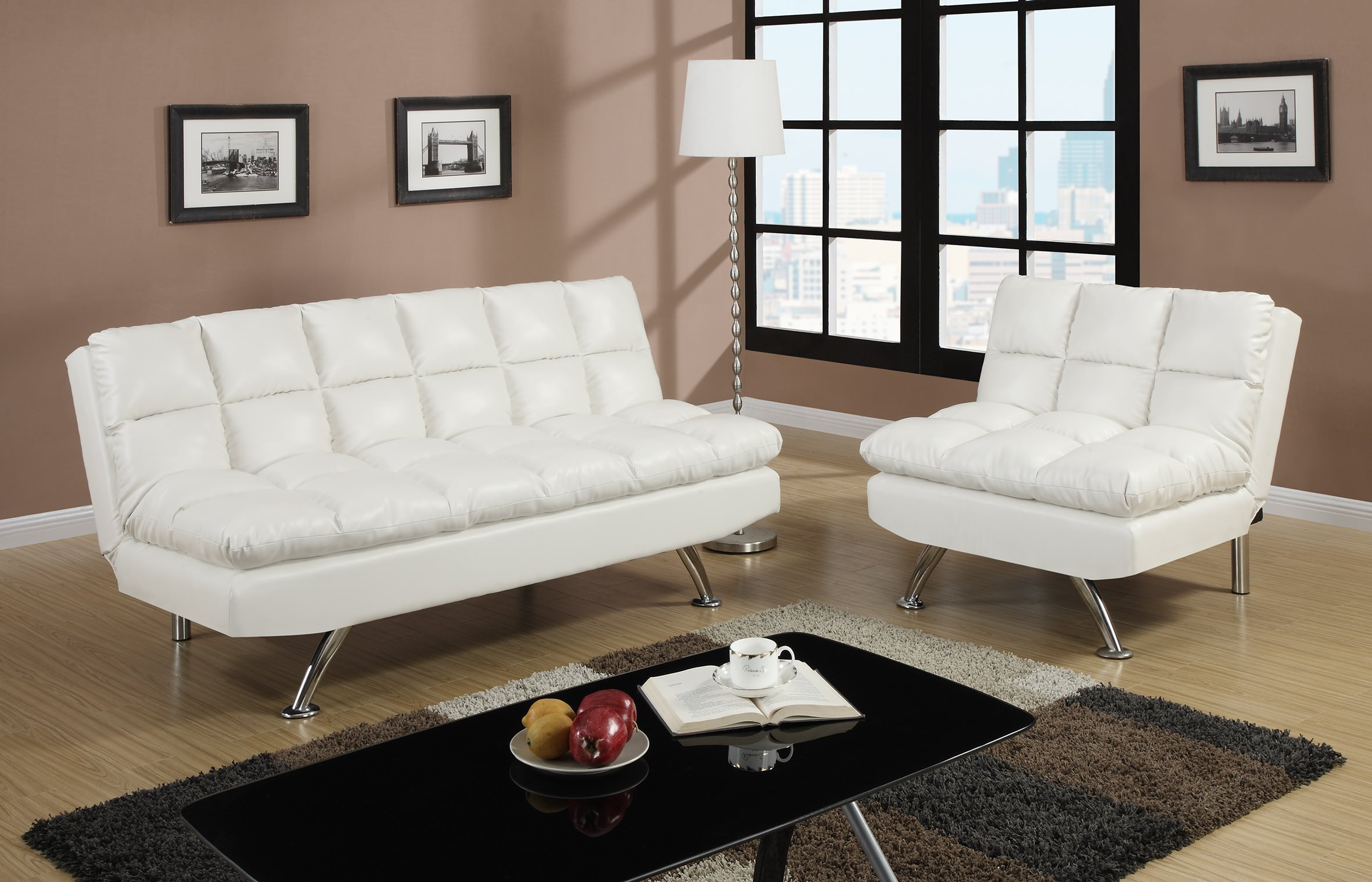 F7015 White Convertible Sofa Bed By Poundex