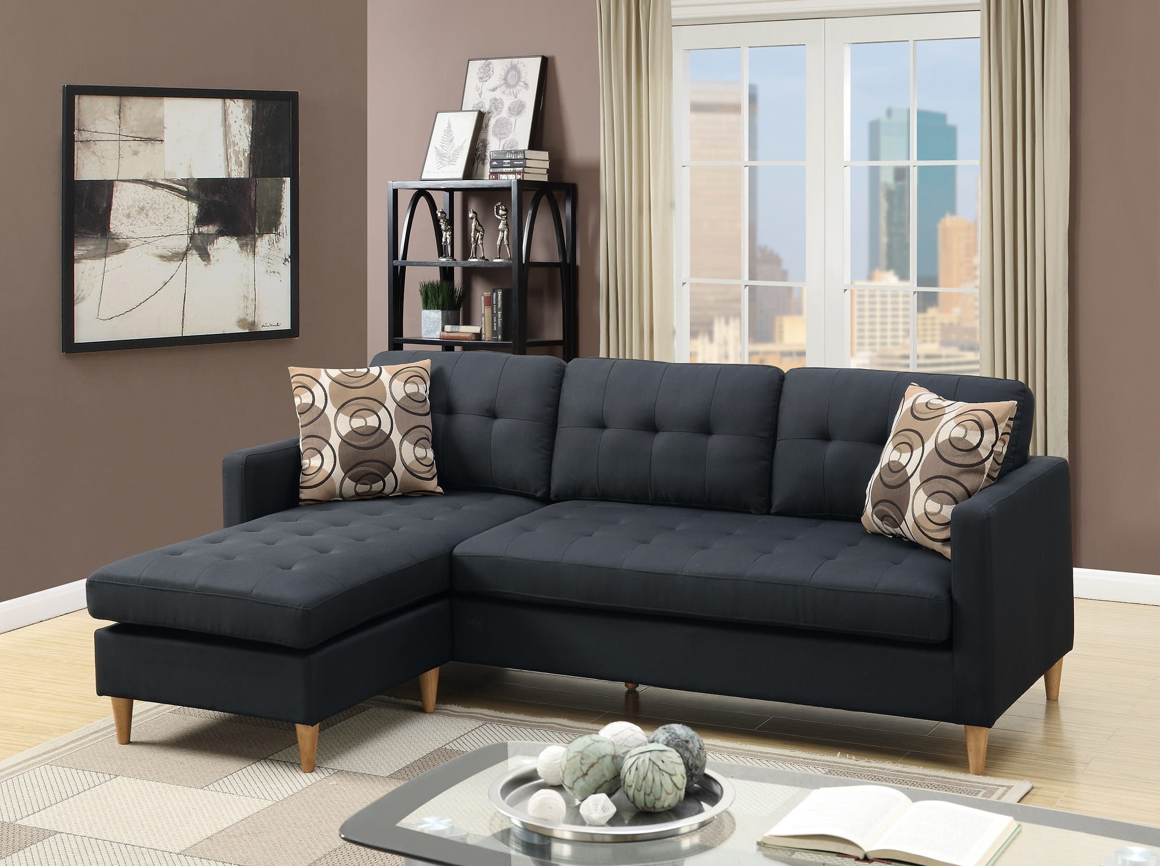 F7084 Black Sectional Sofa by Poundex