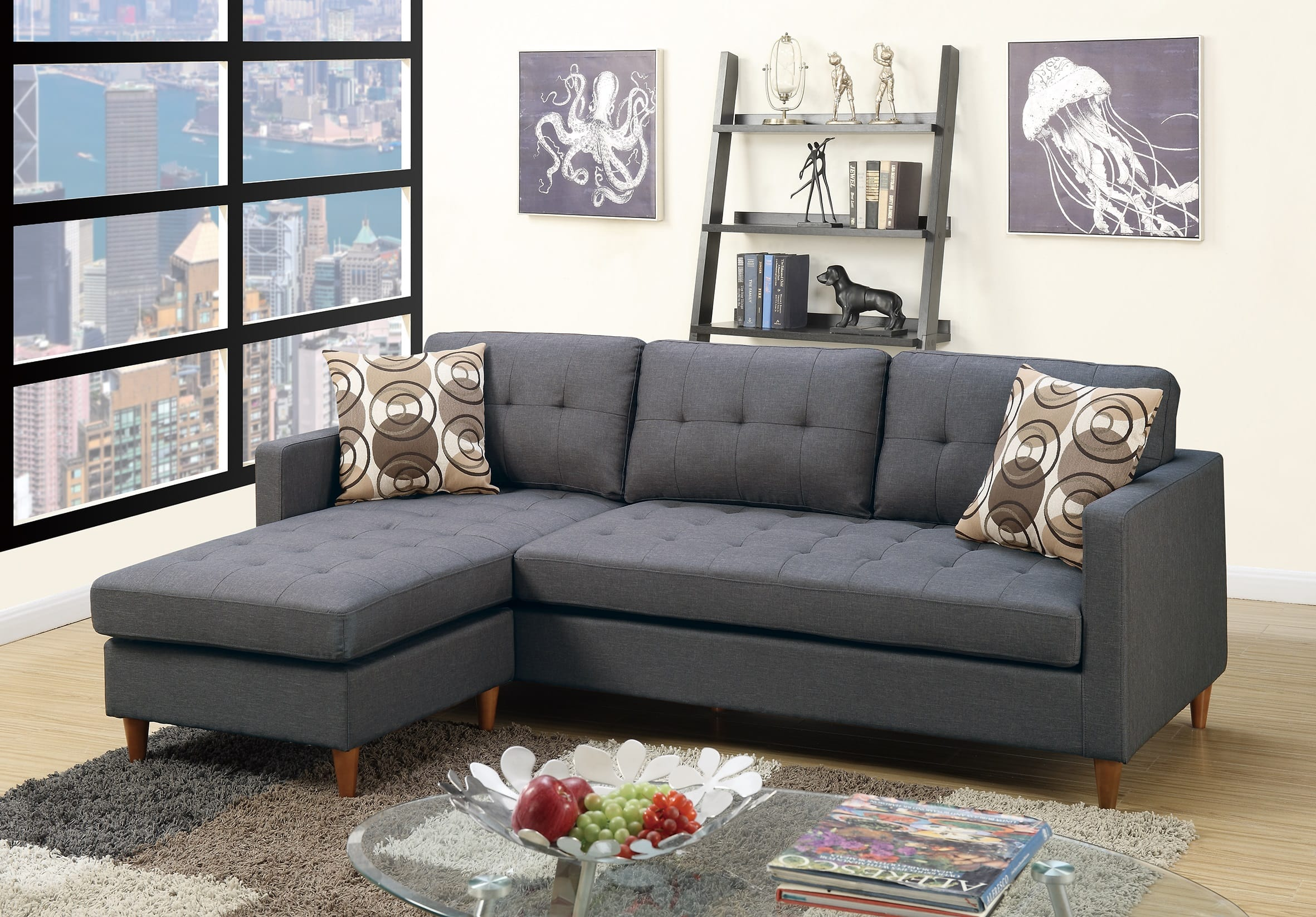 F7094 Blue Gray Sectional Sofa by Poundex