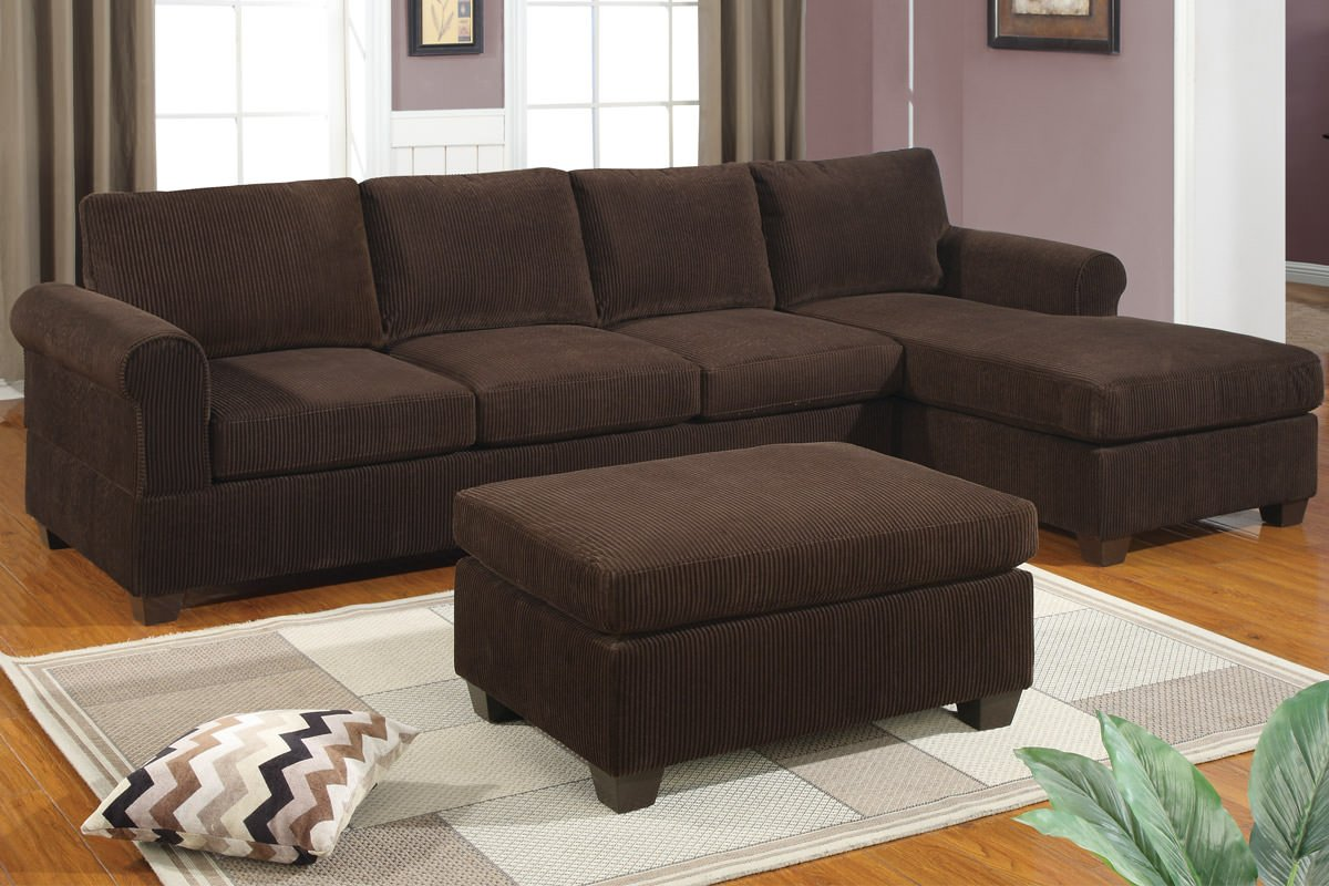 f7131 chocolate sectional sofa set by poundex. Black Bedroom Furniture Sets. Home Design Ideas