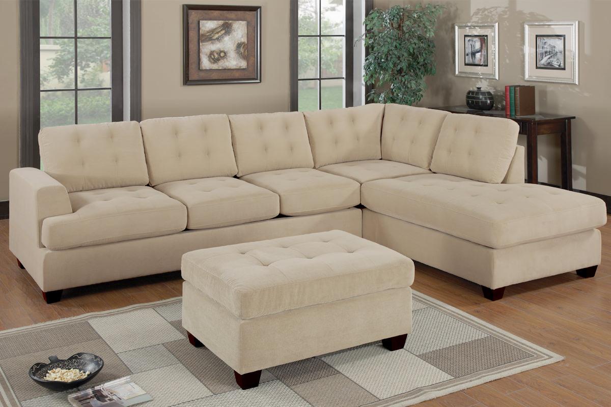 online retailer 93366 ba6ab F7138 Khaki Sectional Sofa Set by Poundex