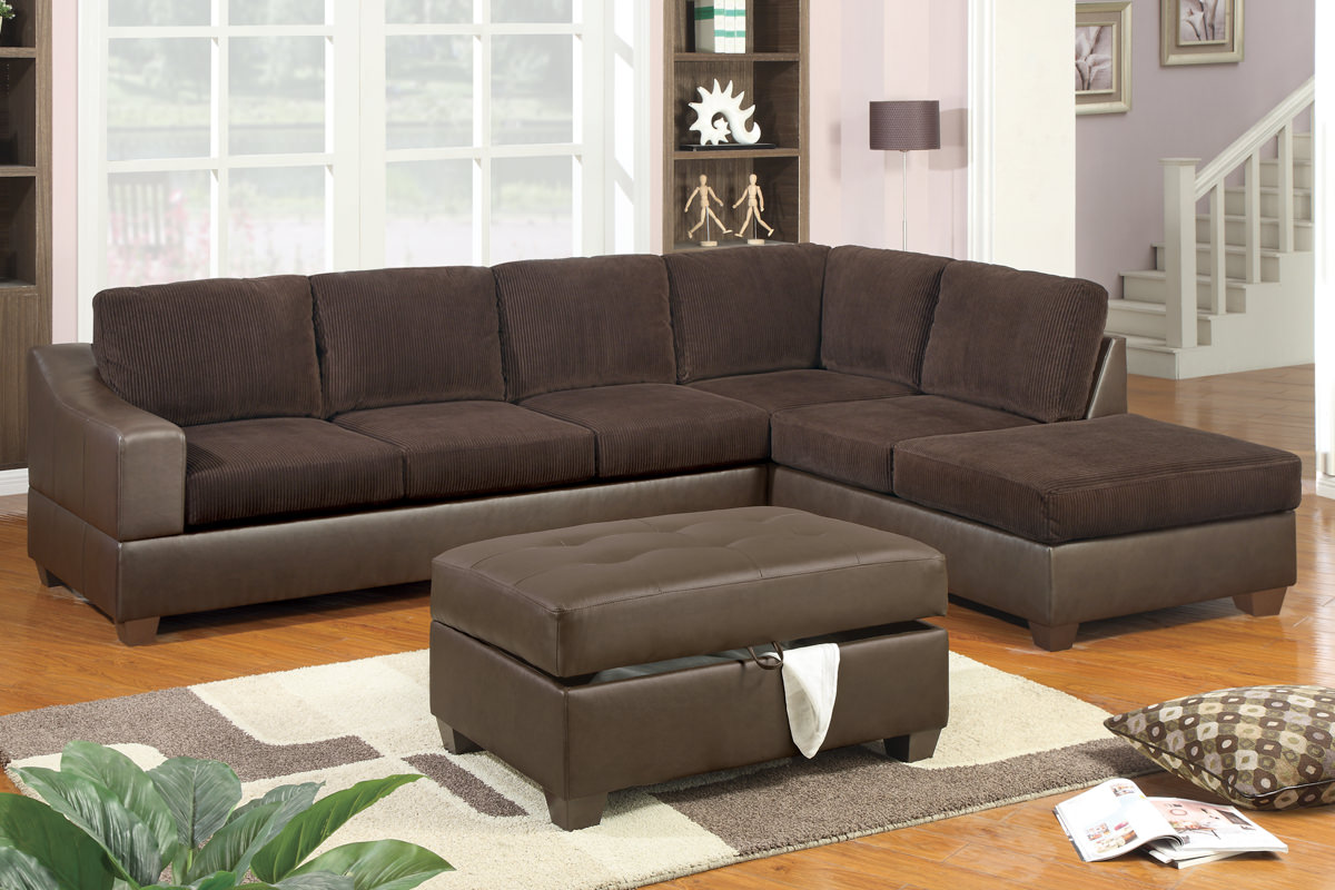 f7147 chocolate sectional sofa set by poundex. Black Bedroom Furniture Sets. Home Design Ideas