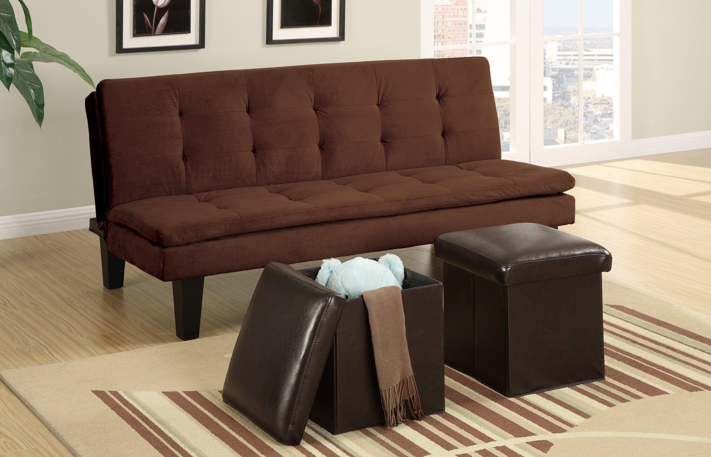F7196 Chocolate Convertible Sofa Bed with 2 Pcs Ottoman by Poundex