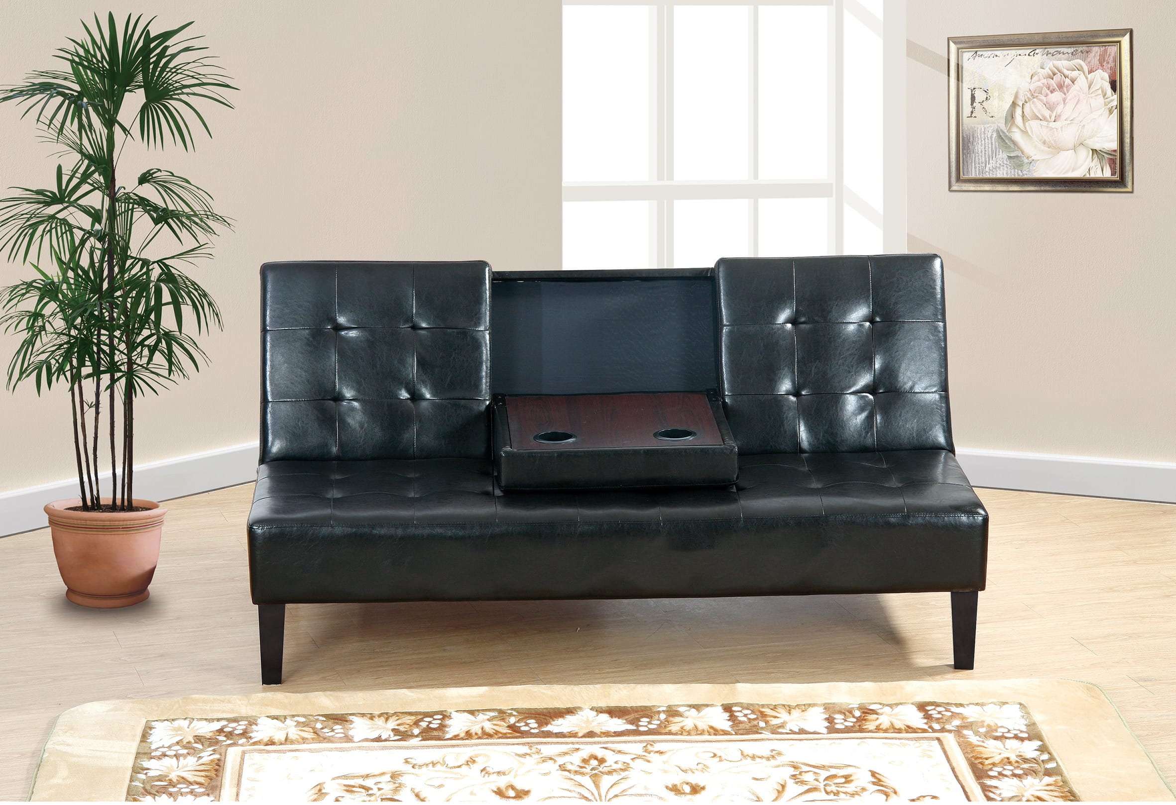 F7209 Black Convertible 3 Seater Sofa Bed by Poundex