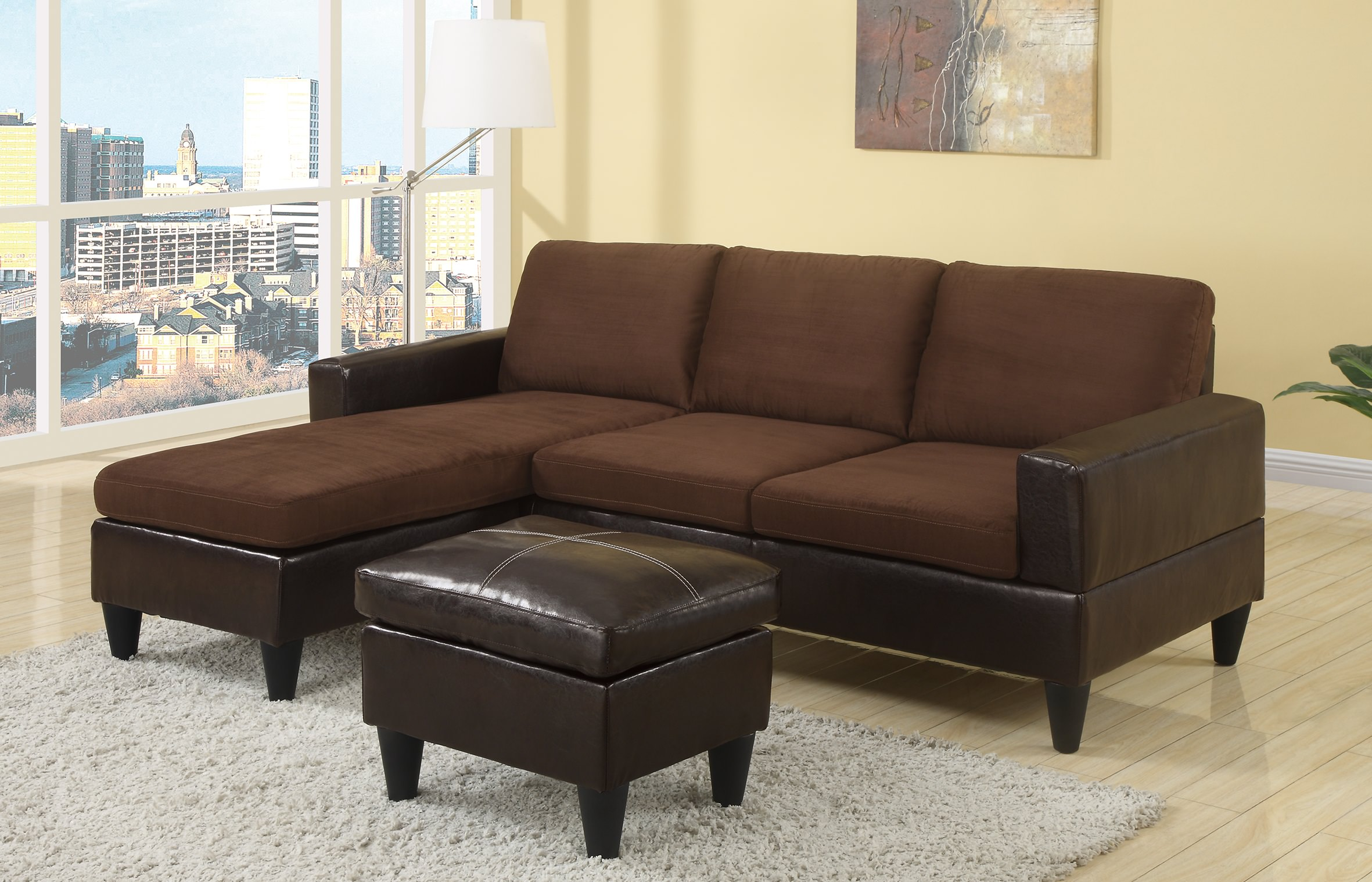 F7291 chocolate sectional sofa set by poundex for Sectional sofa set