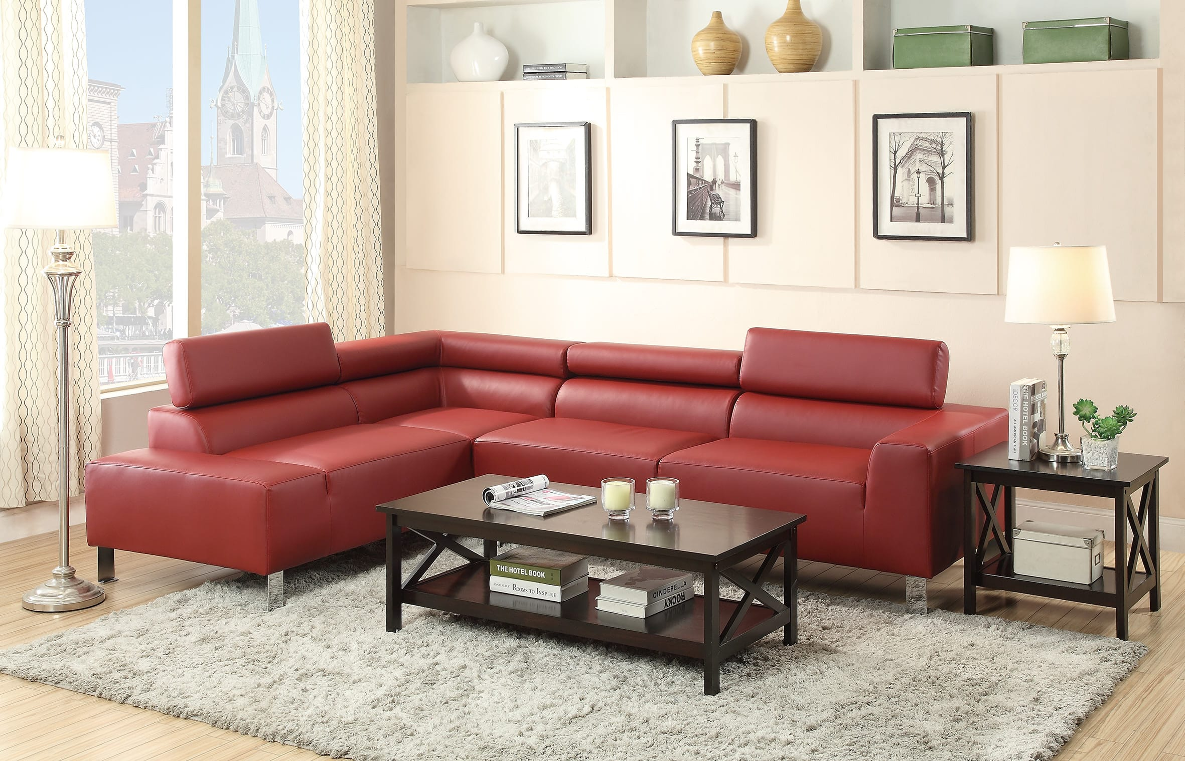 F7300 Burgundy Sectional Sofa by Poundex