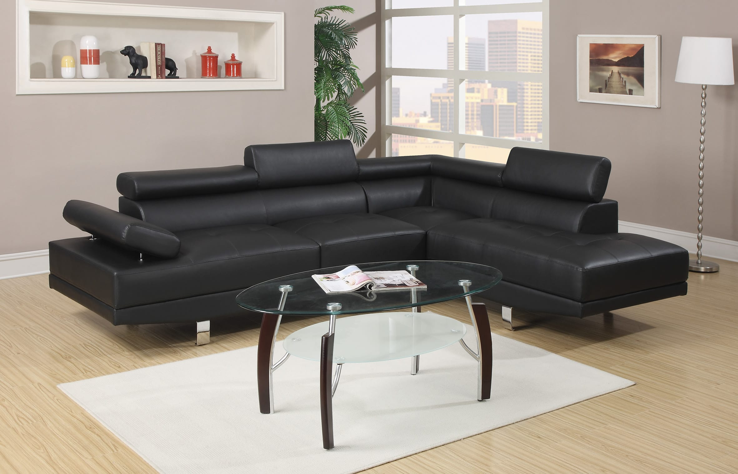 F7310 Black Sectional Sofa by Poundex