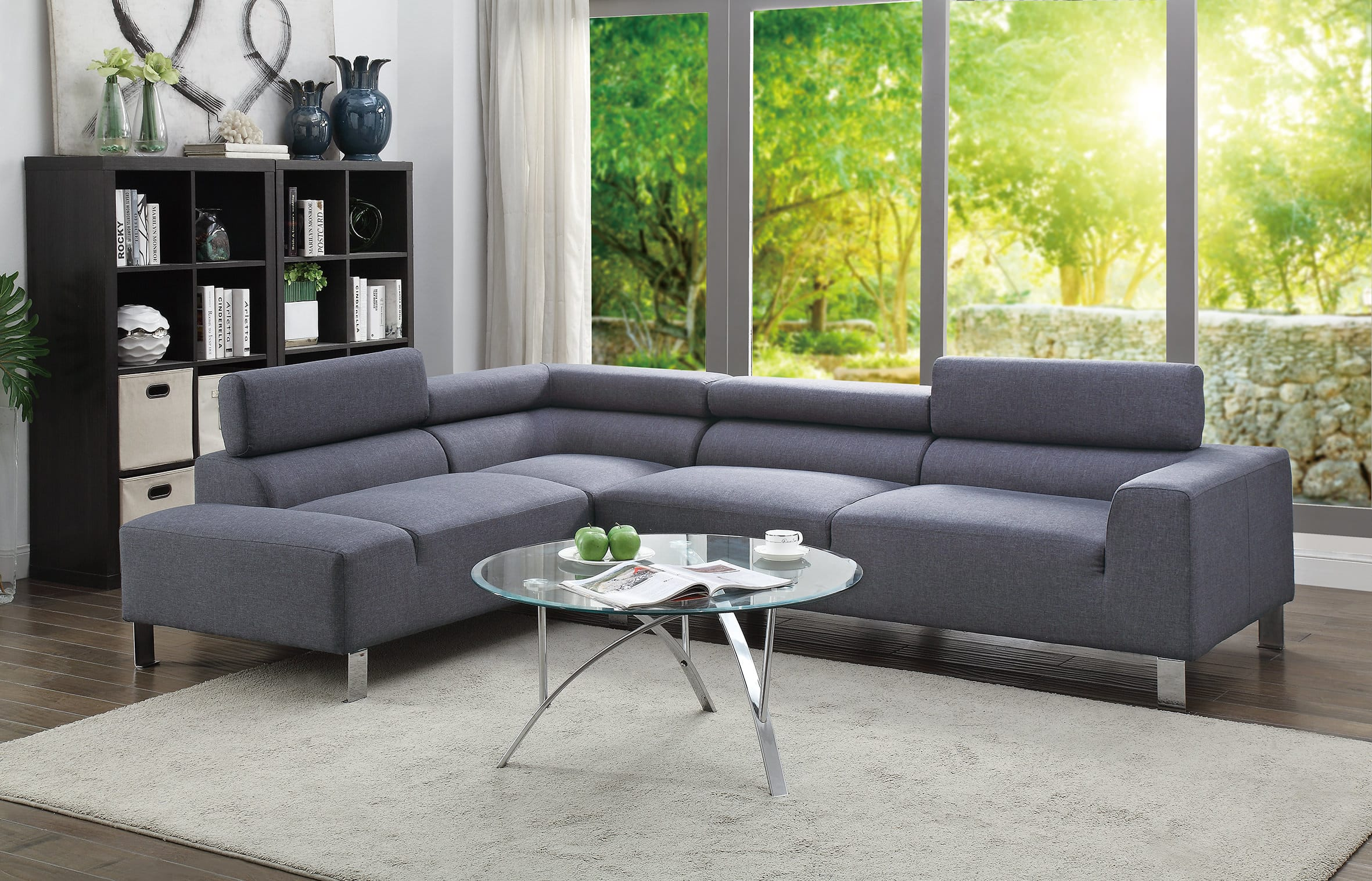 F7315 Blue Gray 2 Pcs Sectional Sofa By Poundex