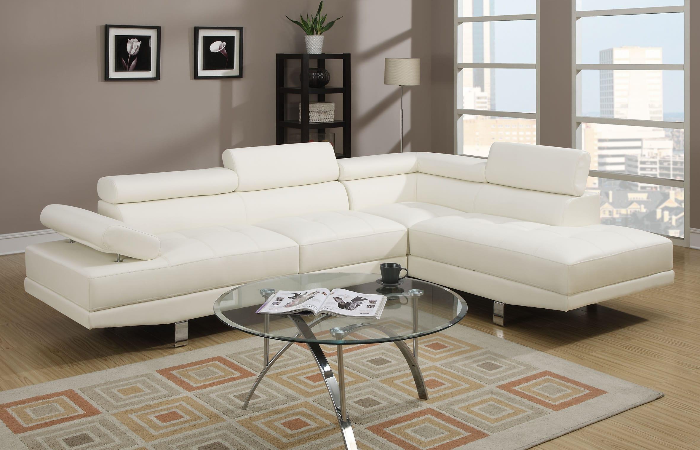 Tremendous F7320 White Sectional Sofa By Poundex Uwap Interior Chair Design Uwaporg